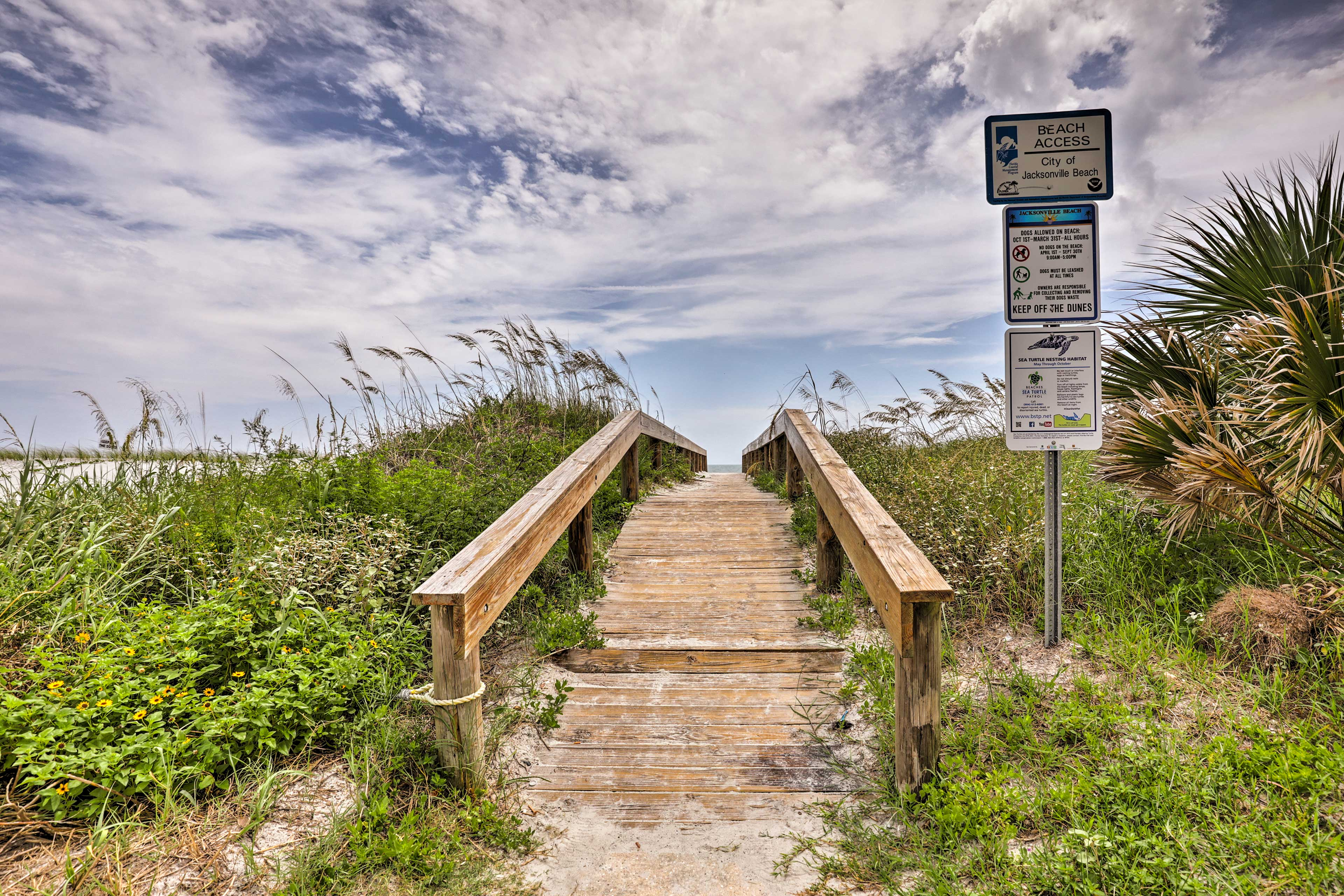 This rustic wooden bridge traverses the dunes and leads directly to the ocean.