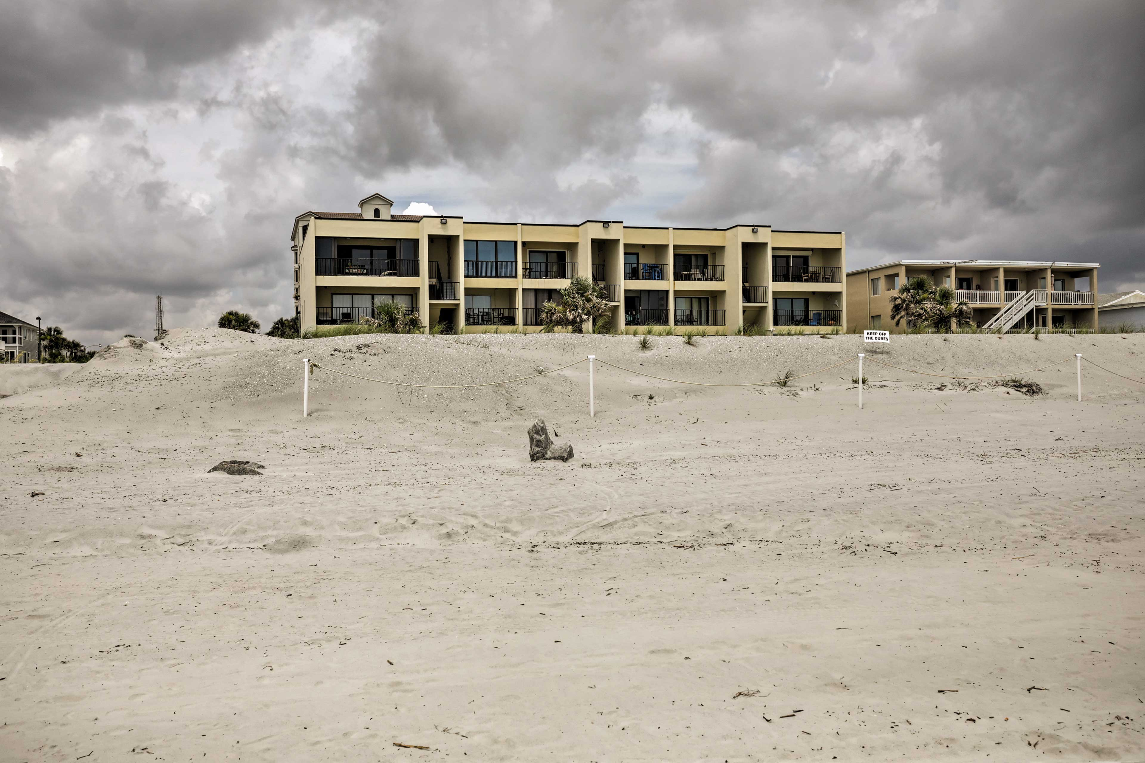 This oceanfront condo is well-designed and well-protected from the elements.
