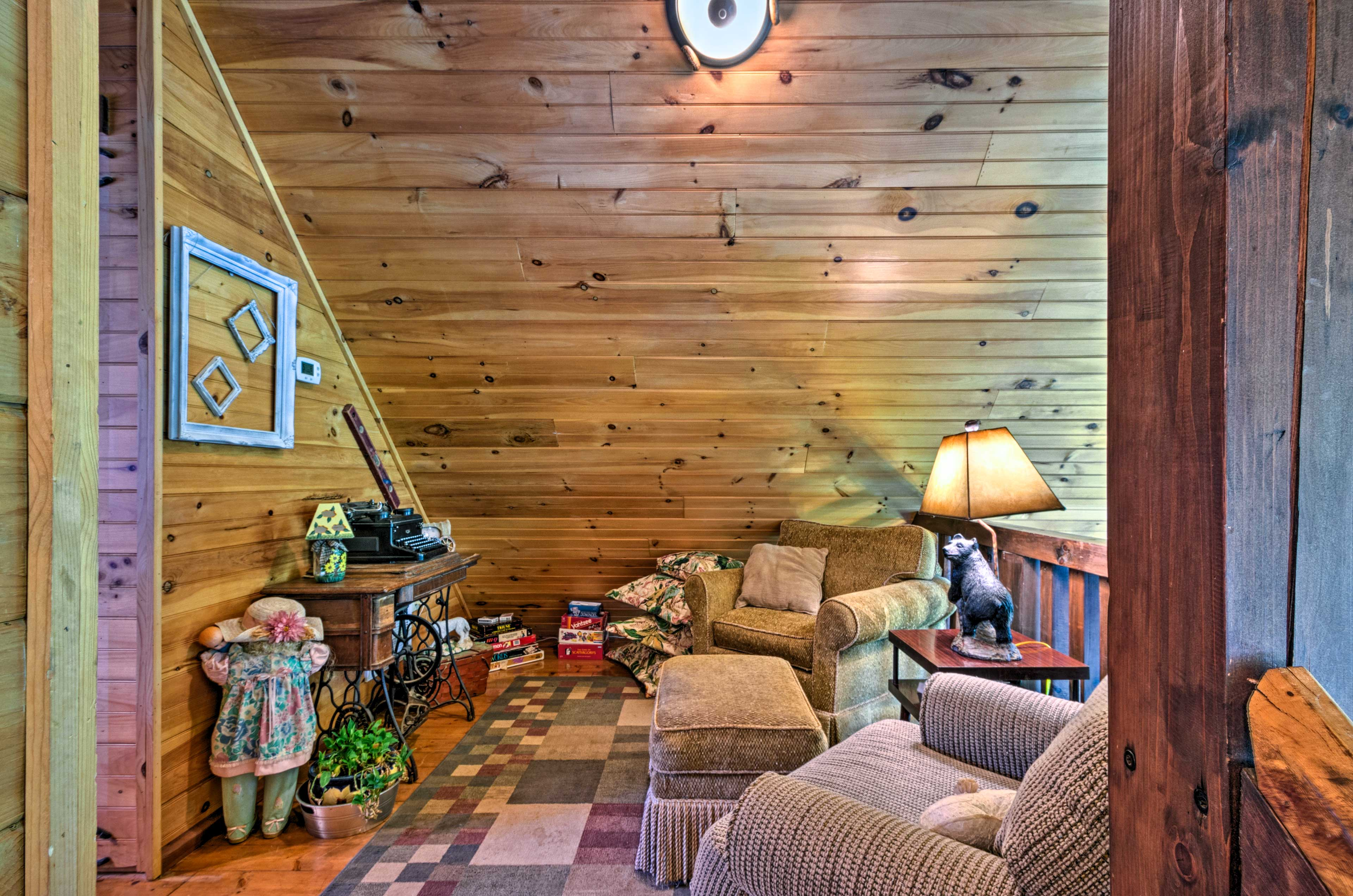 Curl up with a good book before bed upstairs on the landing.
