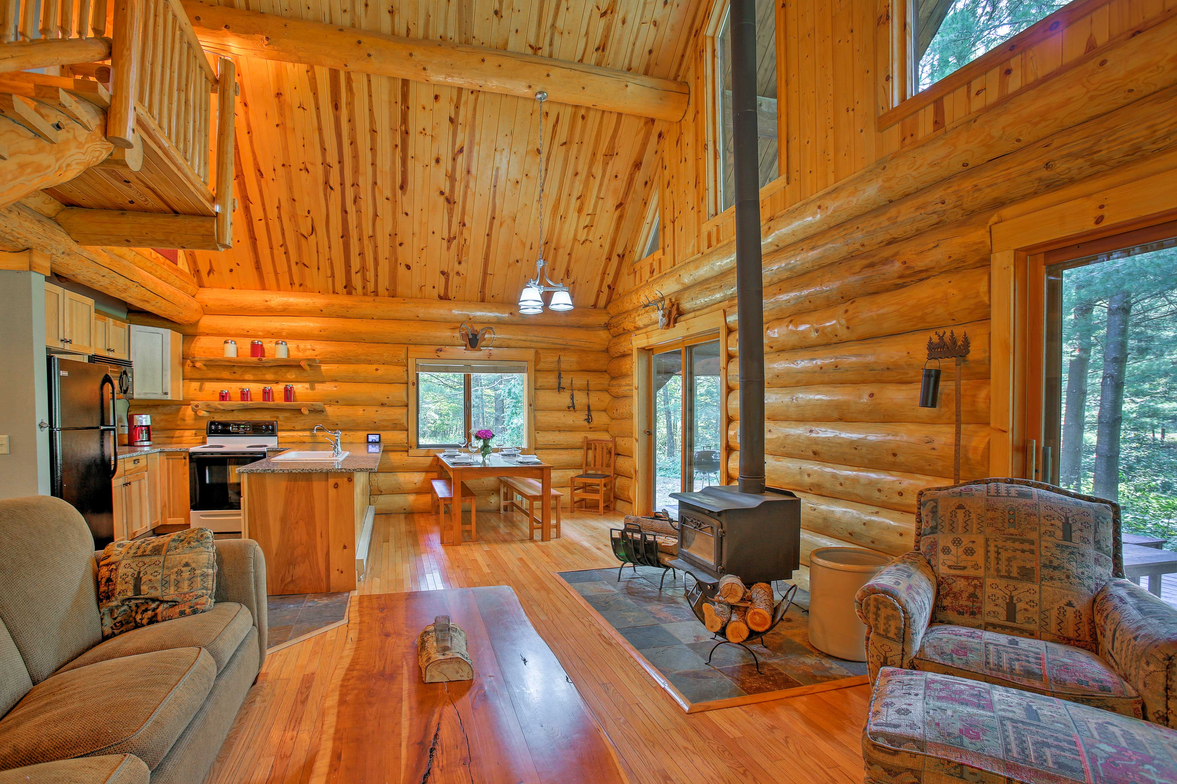 This stunning cabin has 2 bedrooms and 1 bathroom.