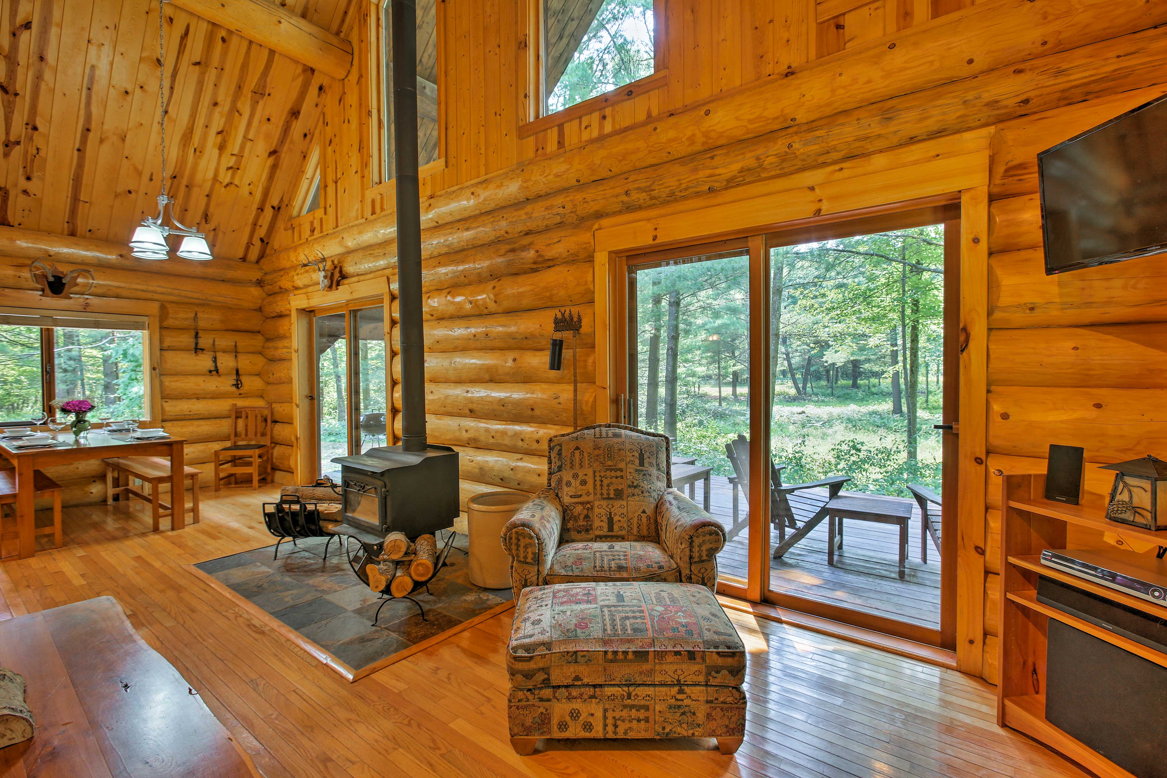 After a day of exploring the outdoors, lounge by the fireplace & flat-screen TV.