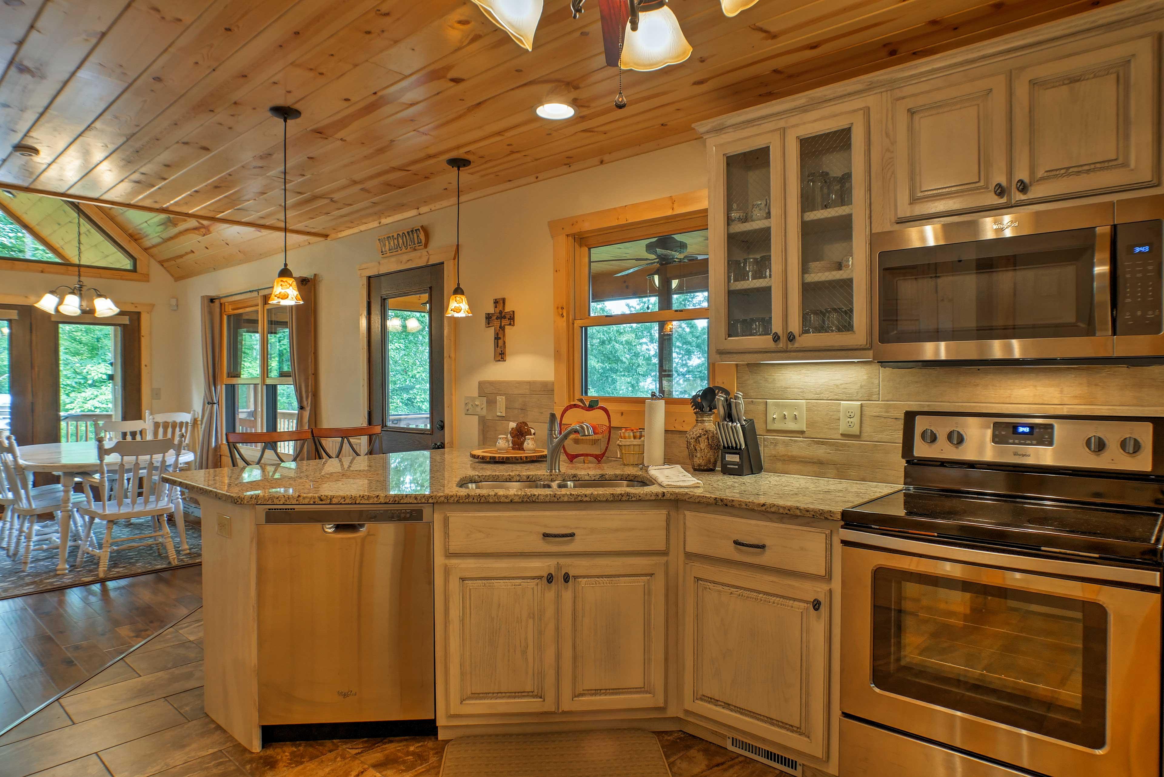 Effortlessly prepare meals using stainless steel appliances.