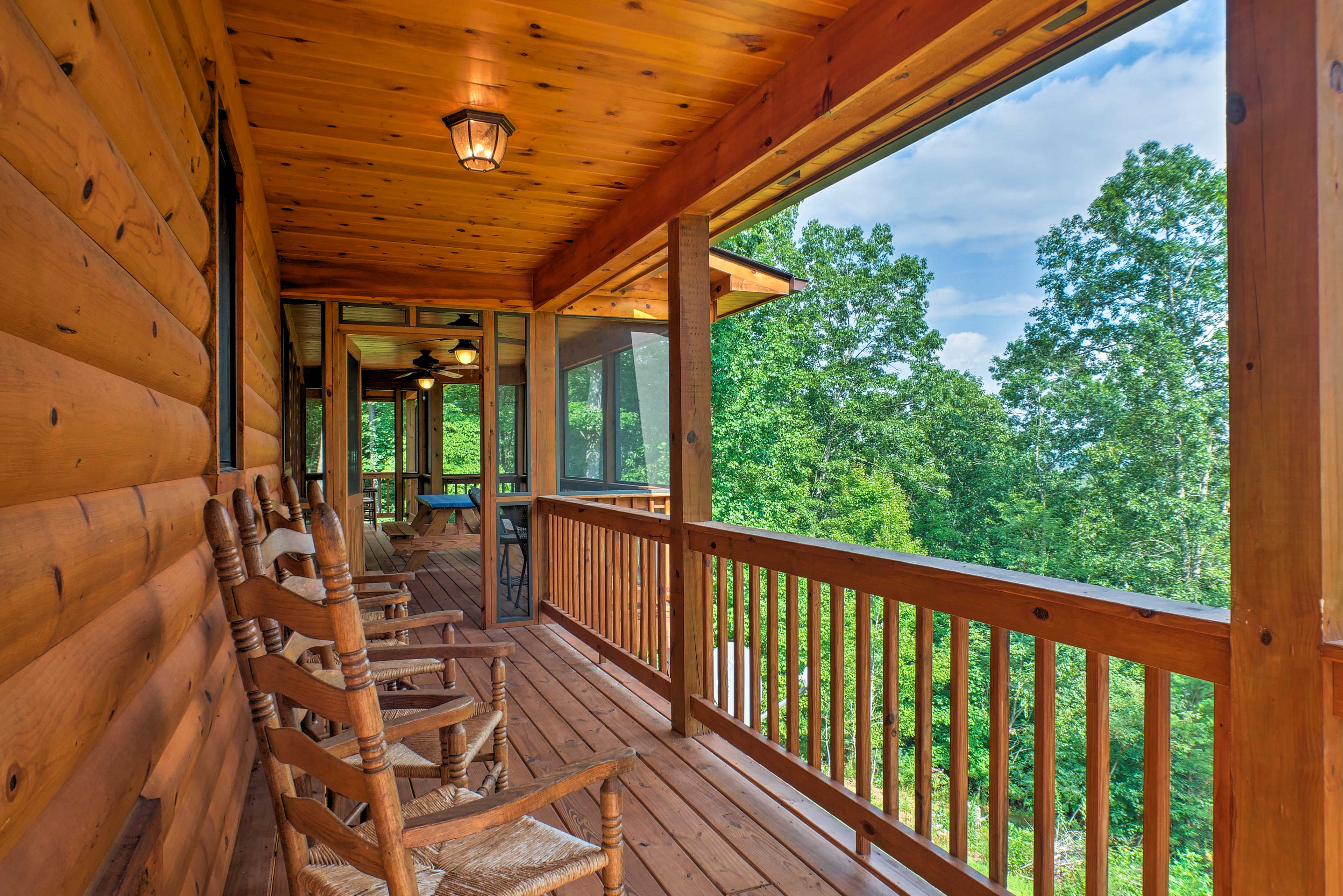 Sip your morning coffee from the covered, furnished porch.