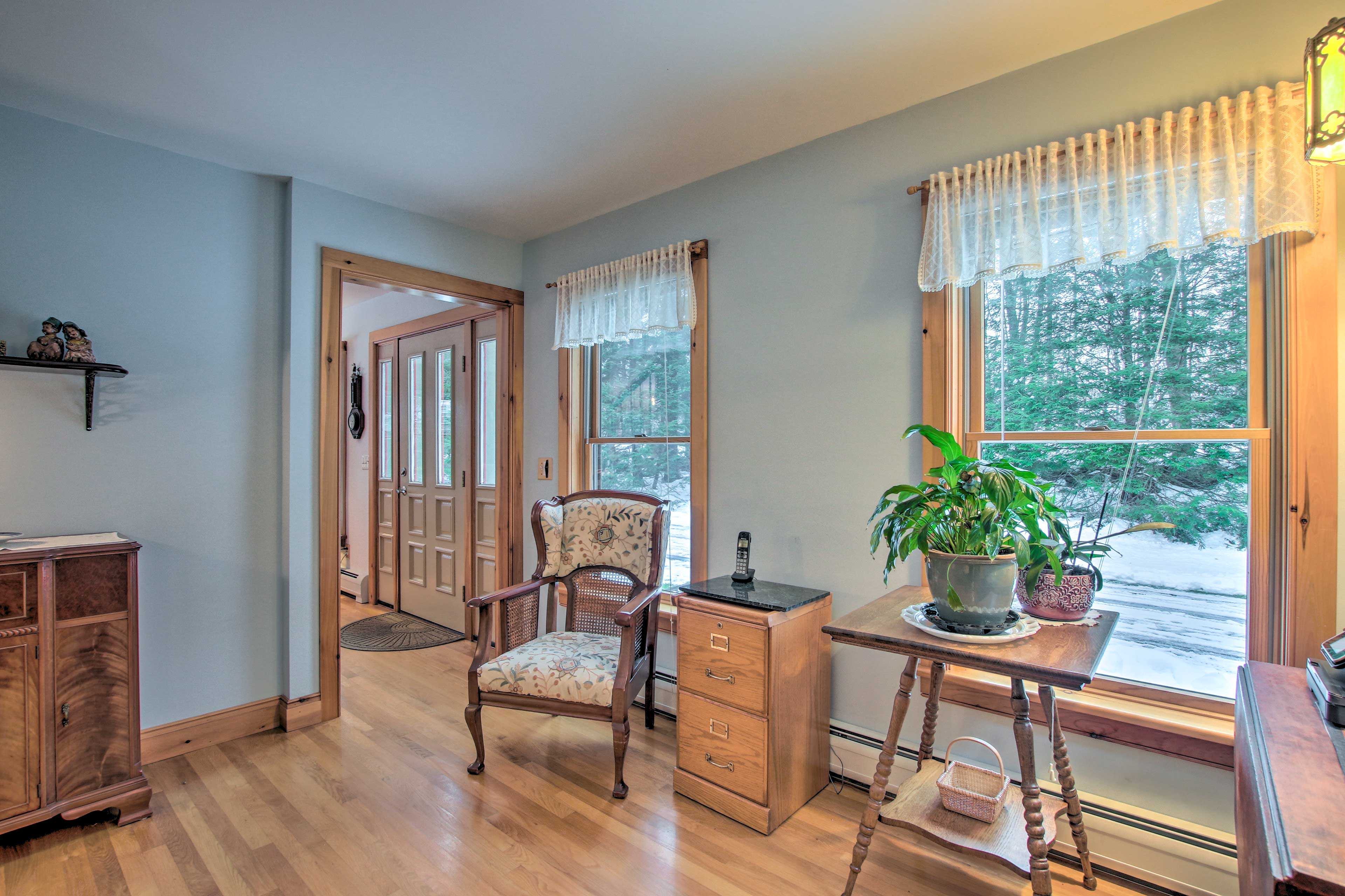 The whole home has hardwood flooring.