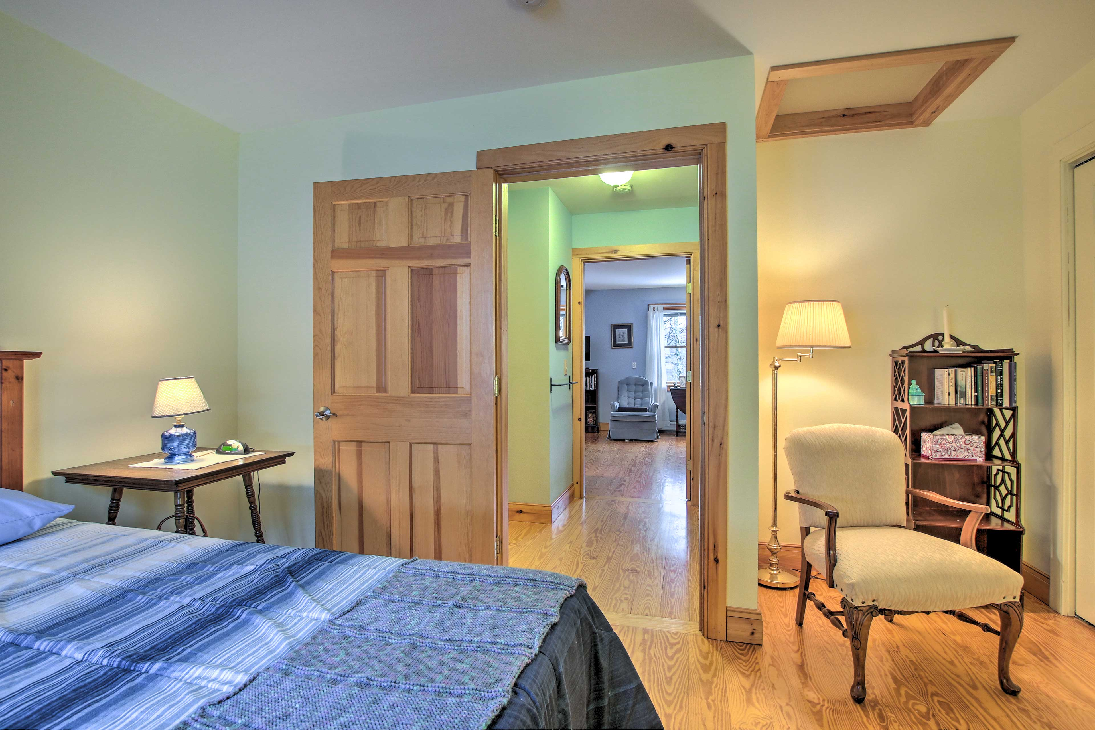 The bedroom is located on the main floor.