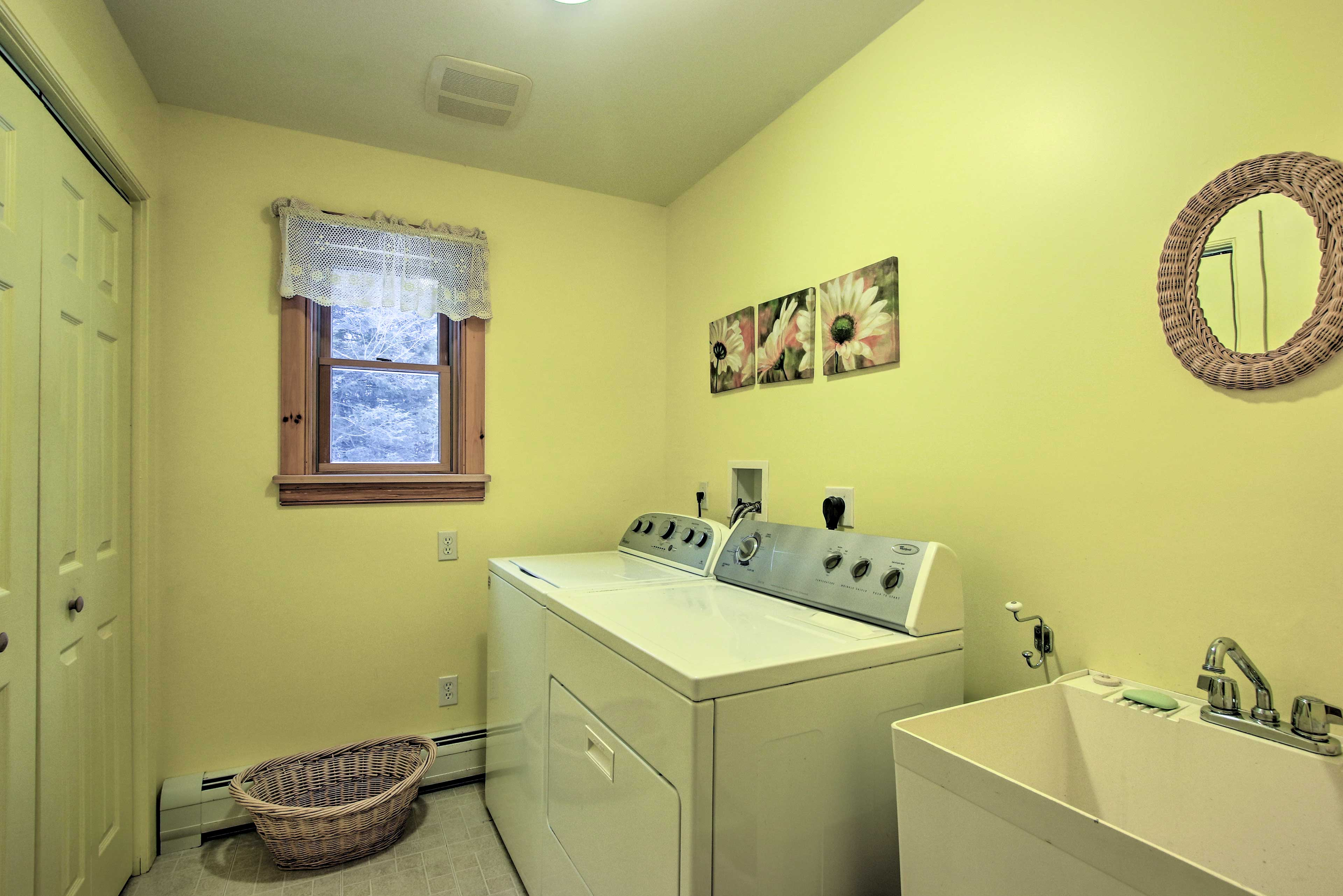 Keep your clothes nice and clean with the washer and dryer.
