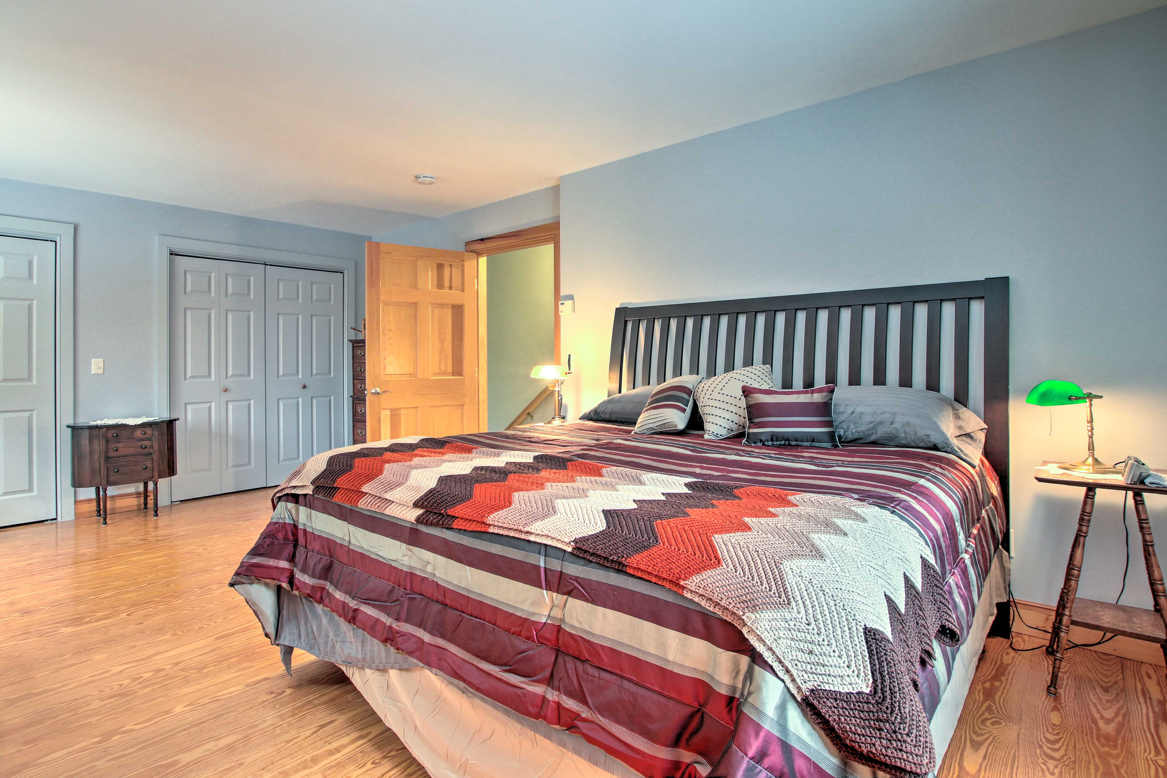 Two lucky guests can claim the king bed upstairs!