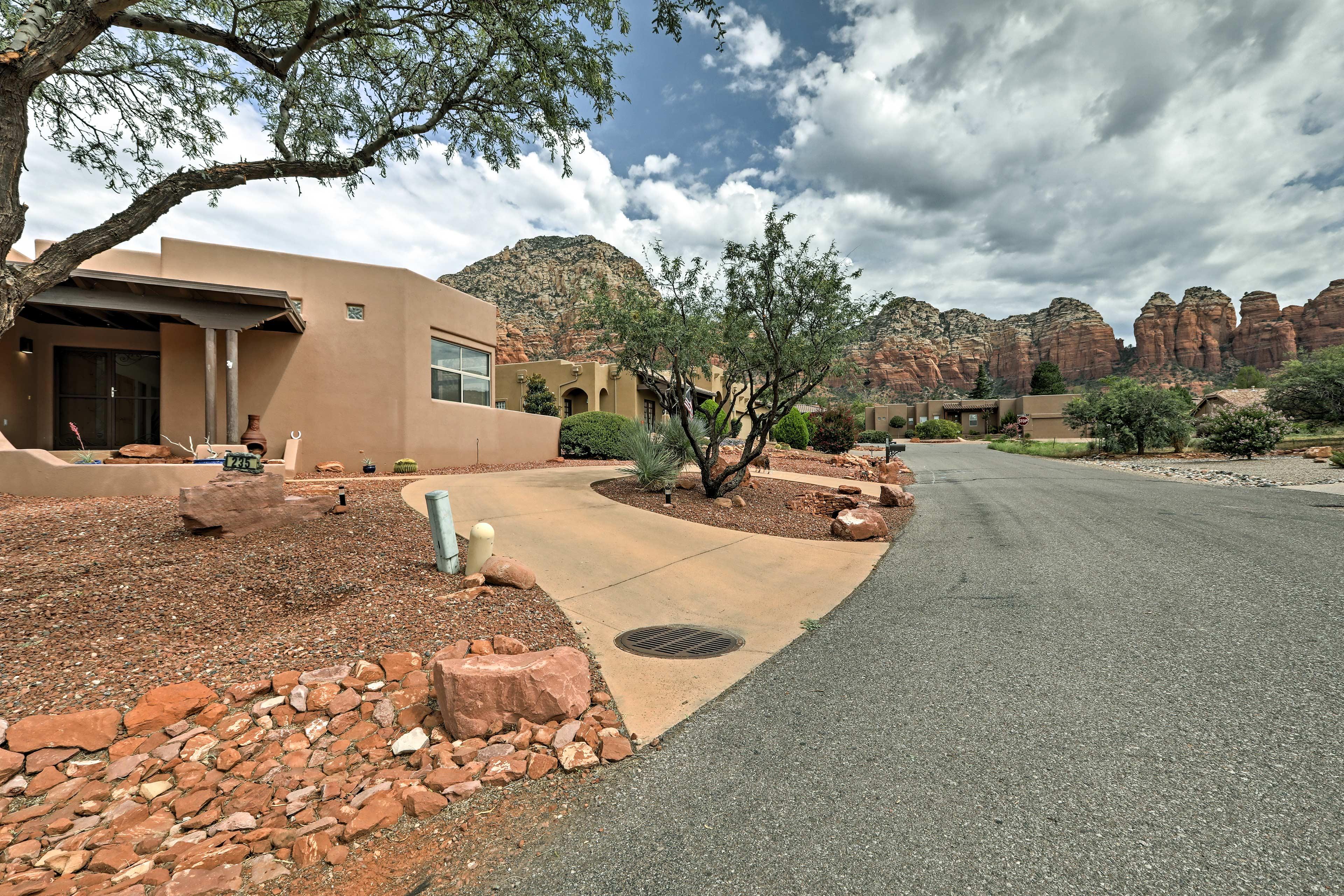 Impressive views surround this classic adobe home.