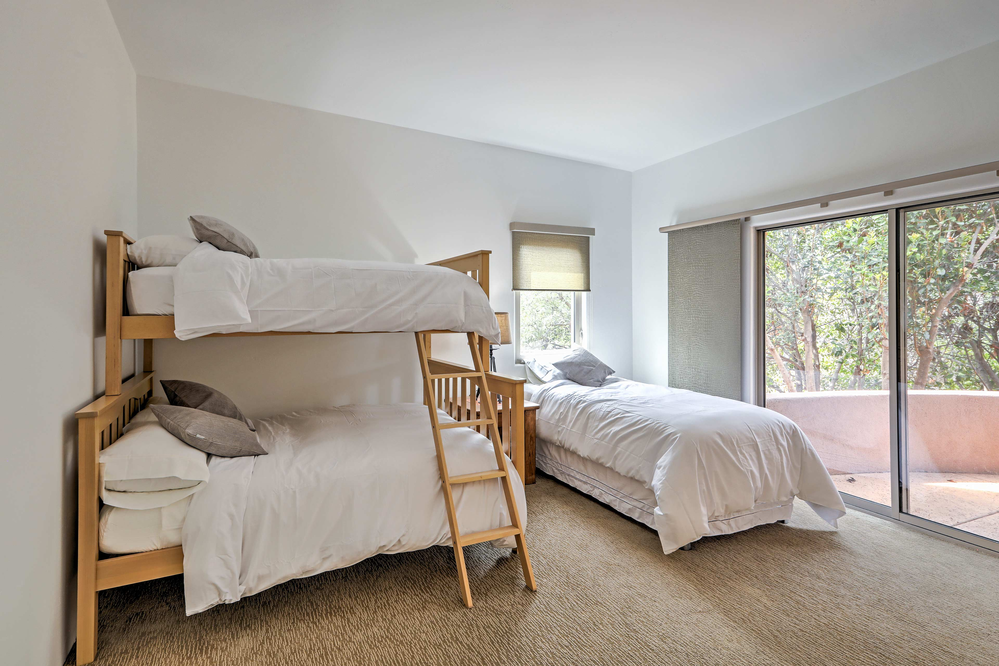 Up to 3 guests can share this first bedroom.