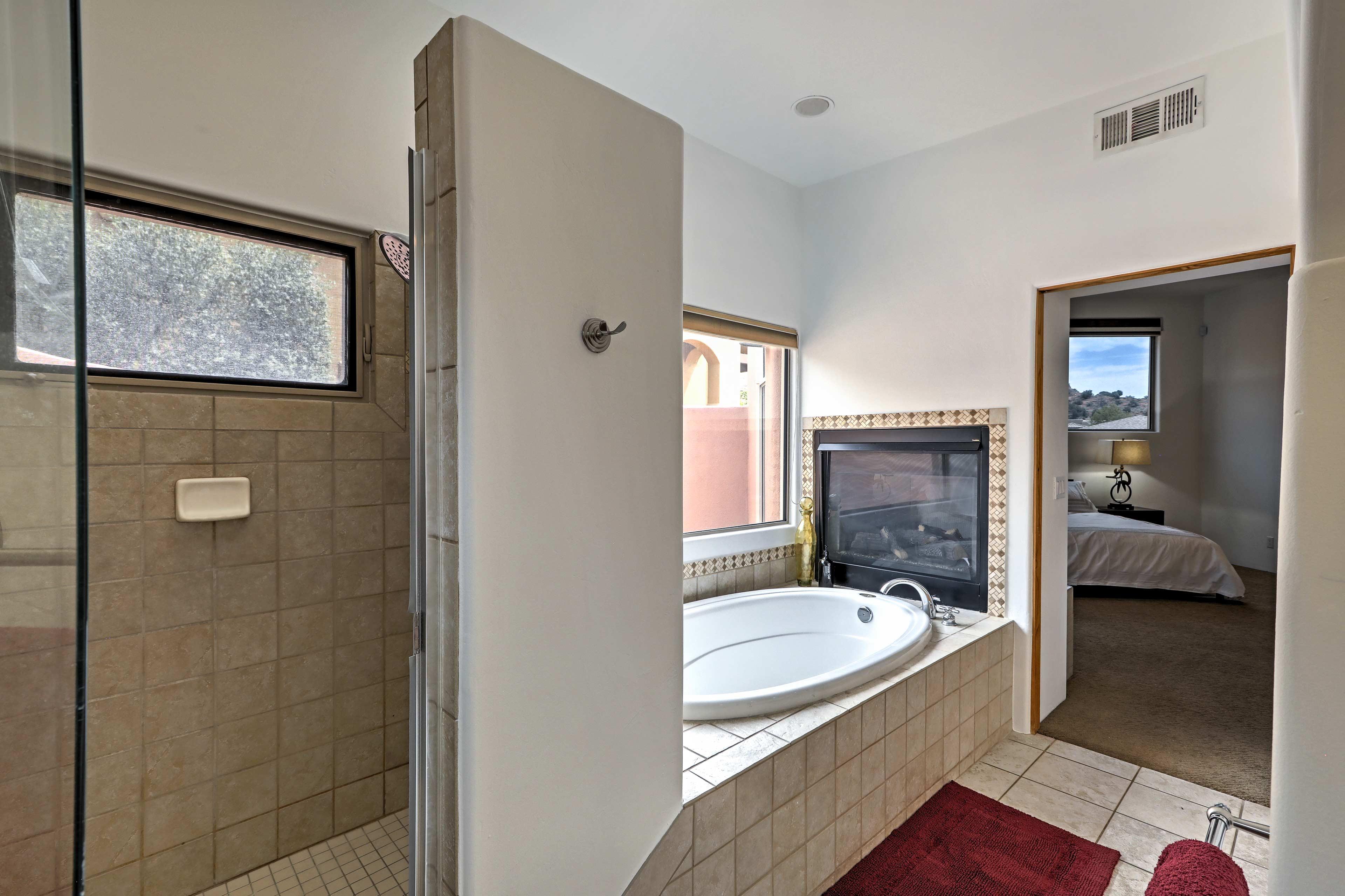 Enjoy a long soak alongside the gas fireplace in the garden tub.