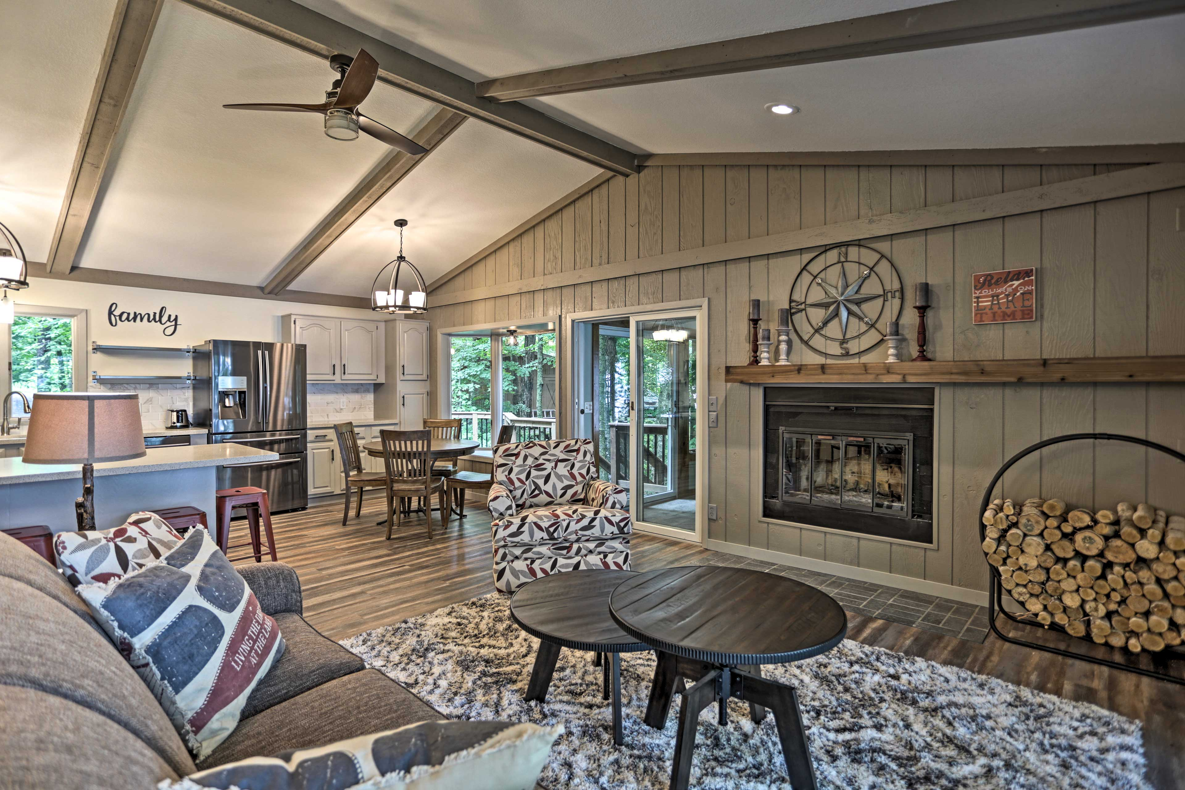 The 2,572-square-foot interior blends modern comfort with rustic charm.
