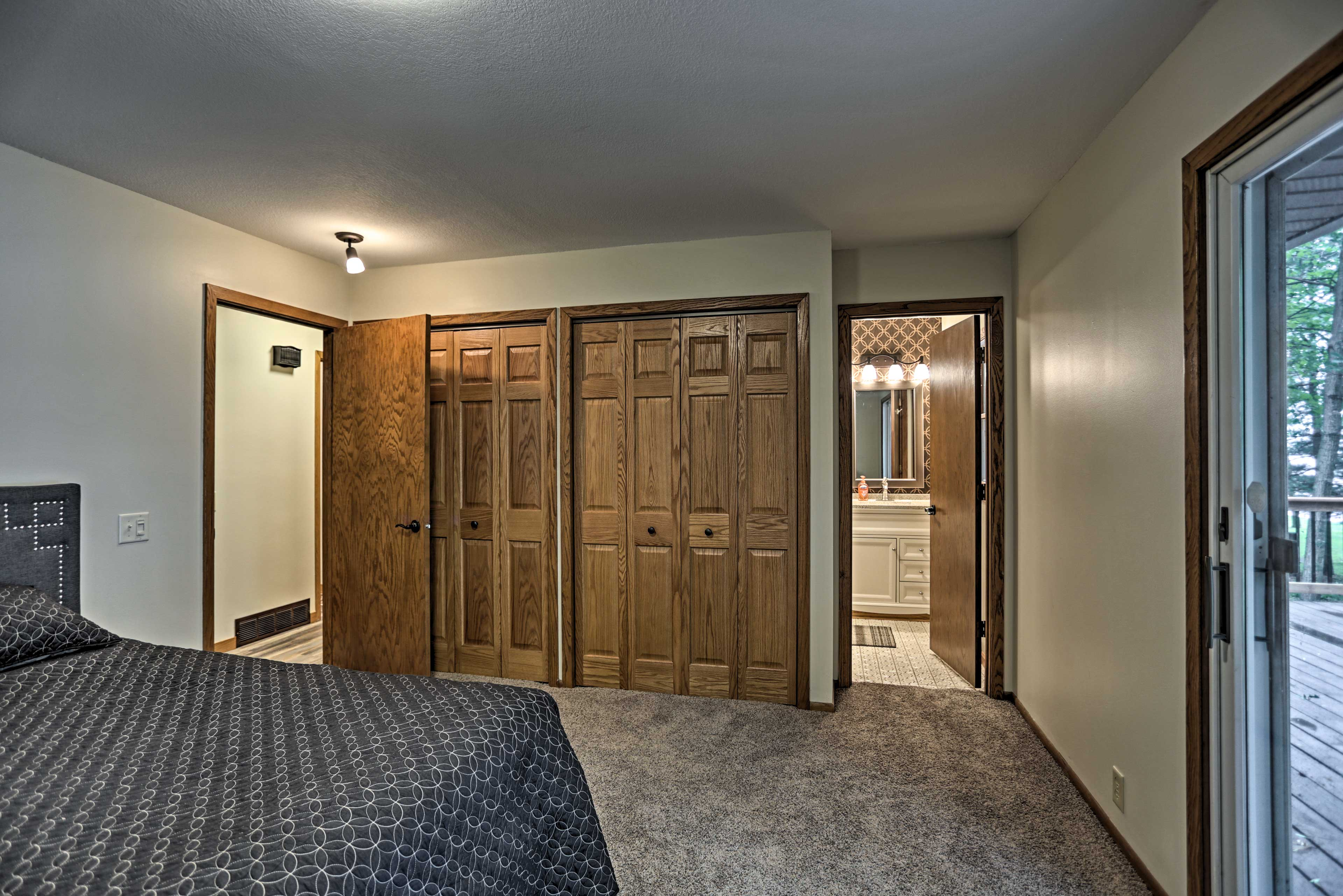 You'll have direct access to the deck through the sliding glass doors.