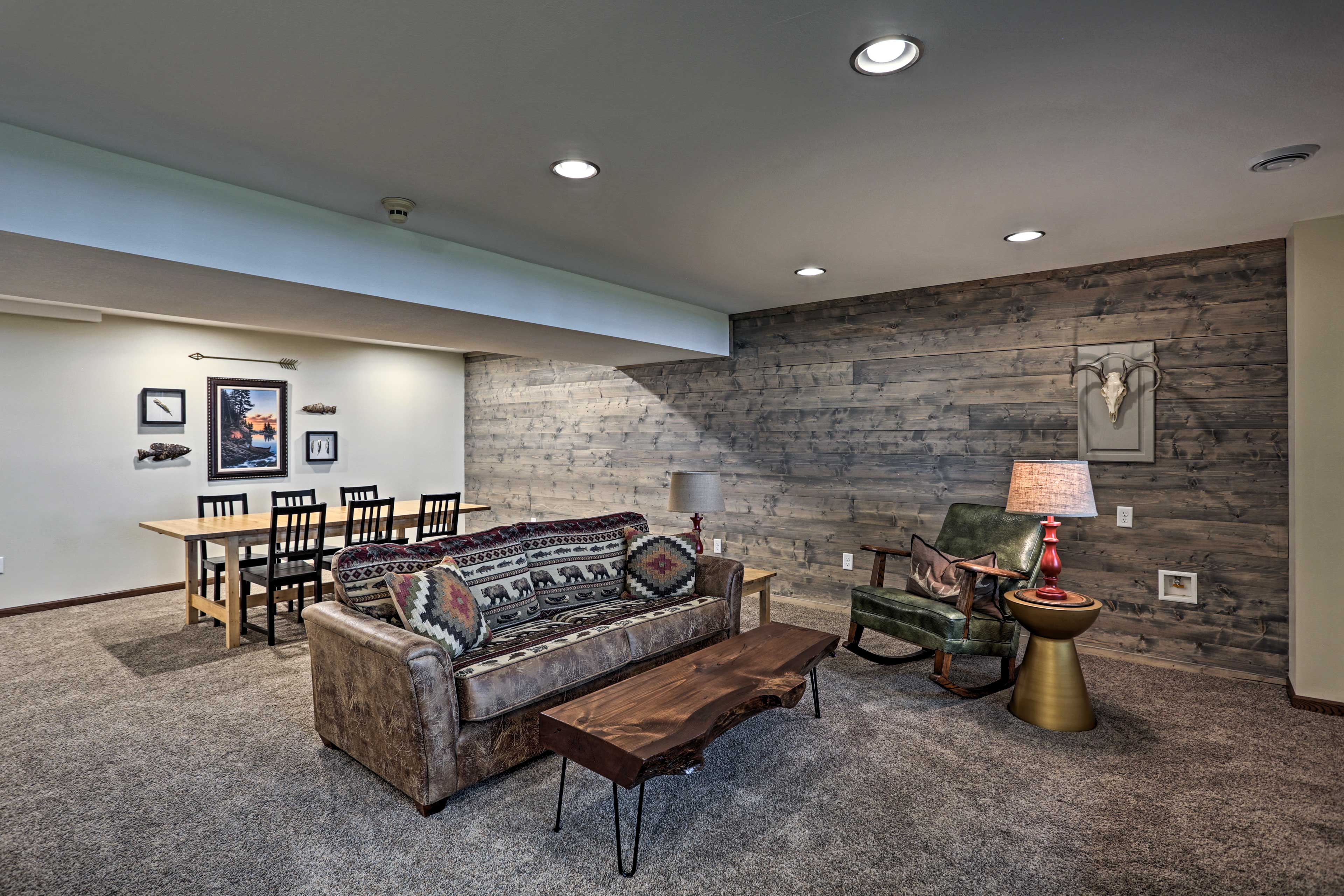 Prepare your favorite drink at the wet bar and settle into the leather couch.