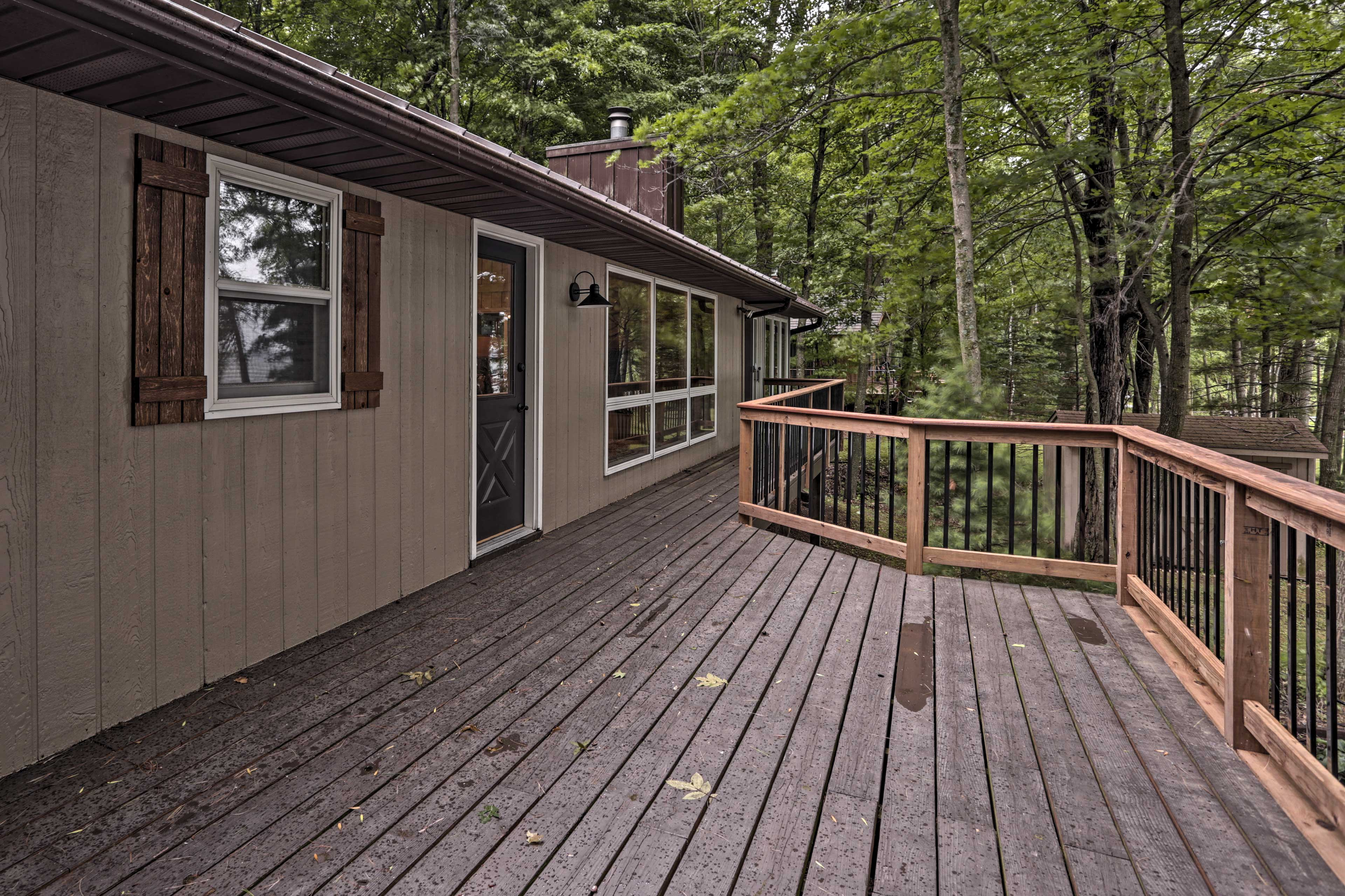 Unwind with lake views on the spacious deck.