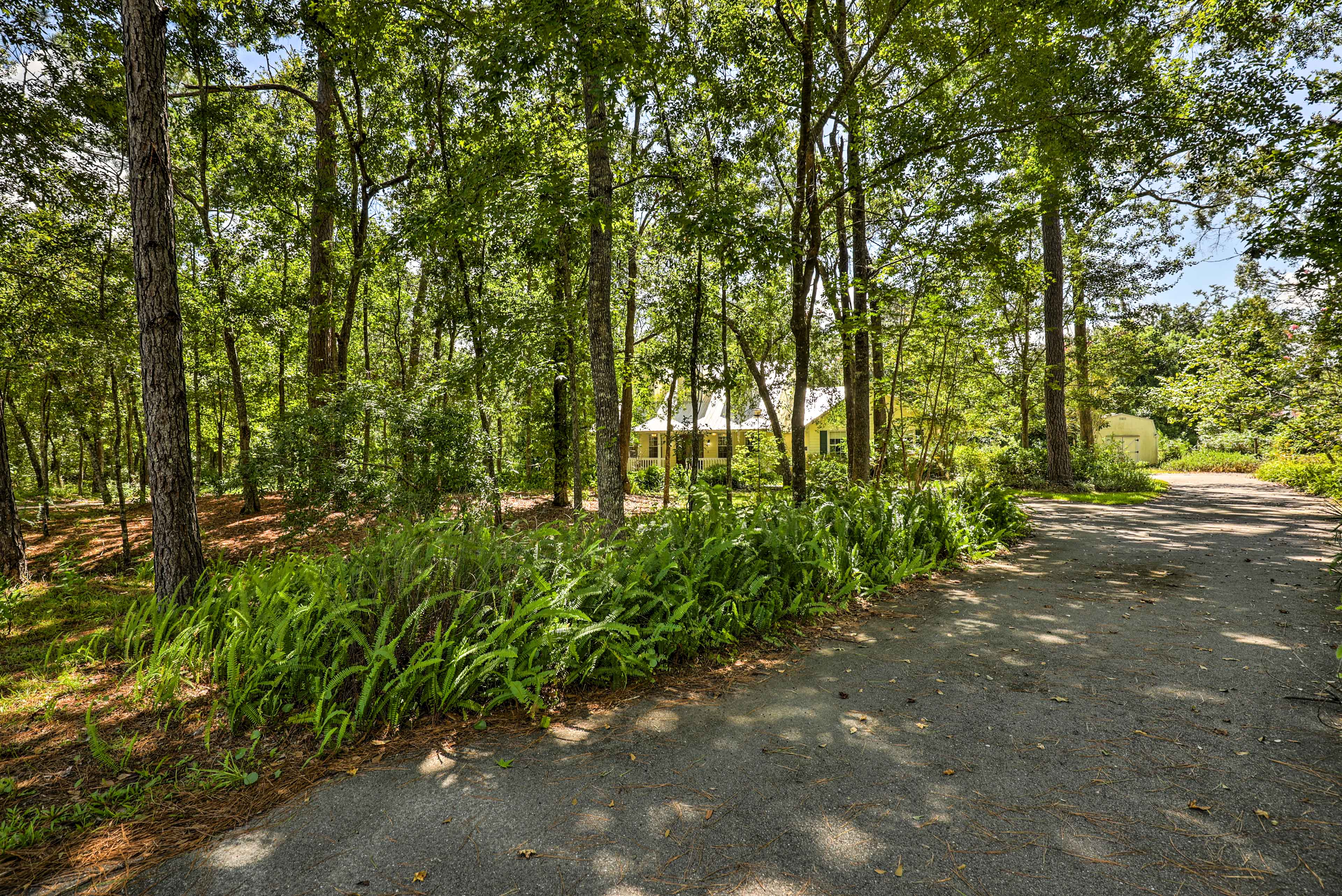 Drive up the tree-framed road to your home-away-from-home.