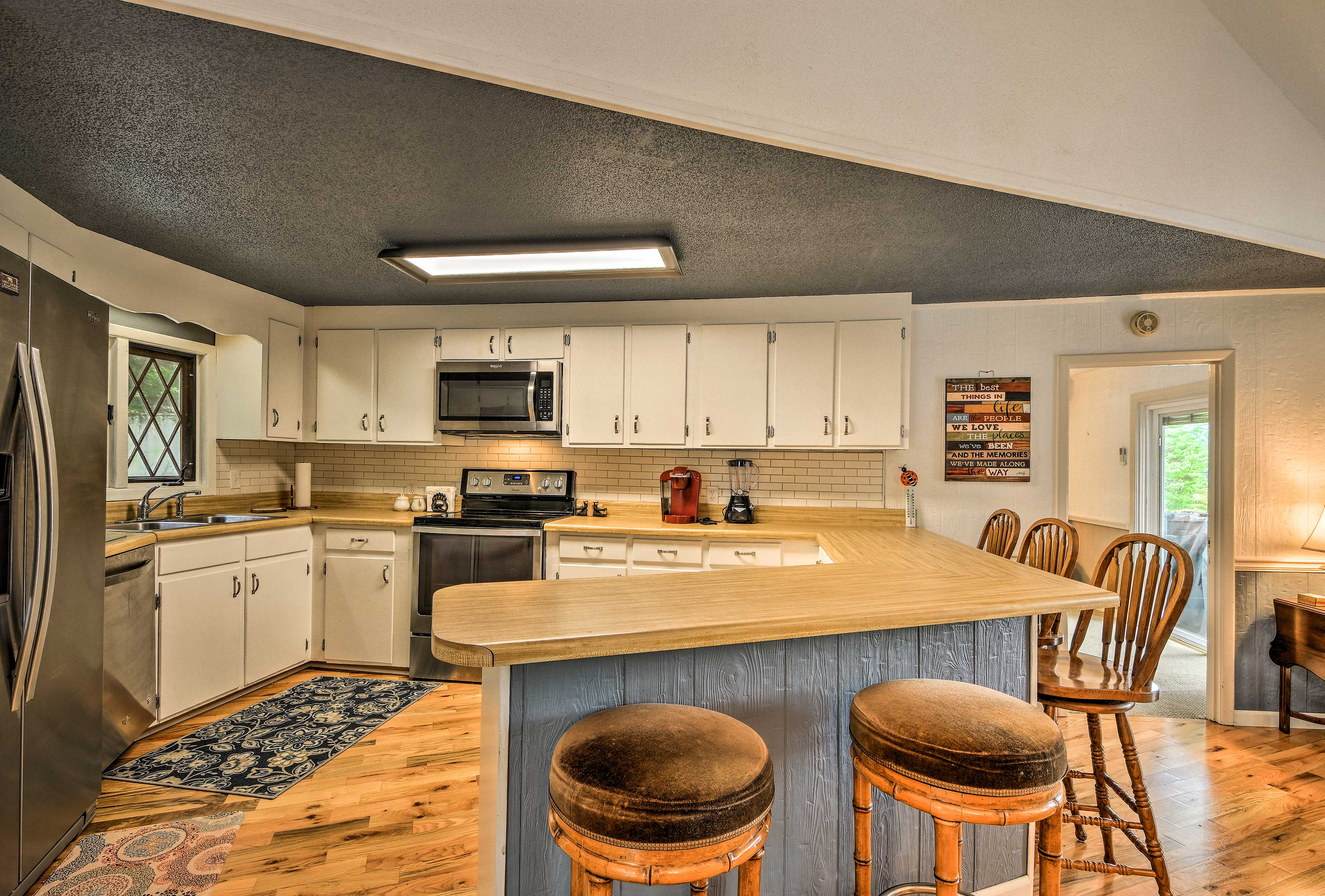 There's ample counter space for preparing and serving meals.