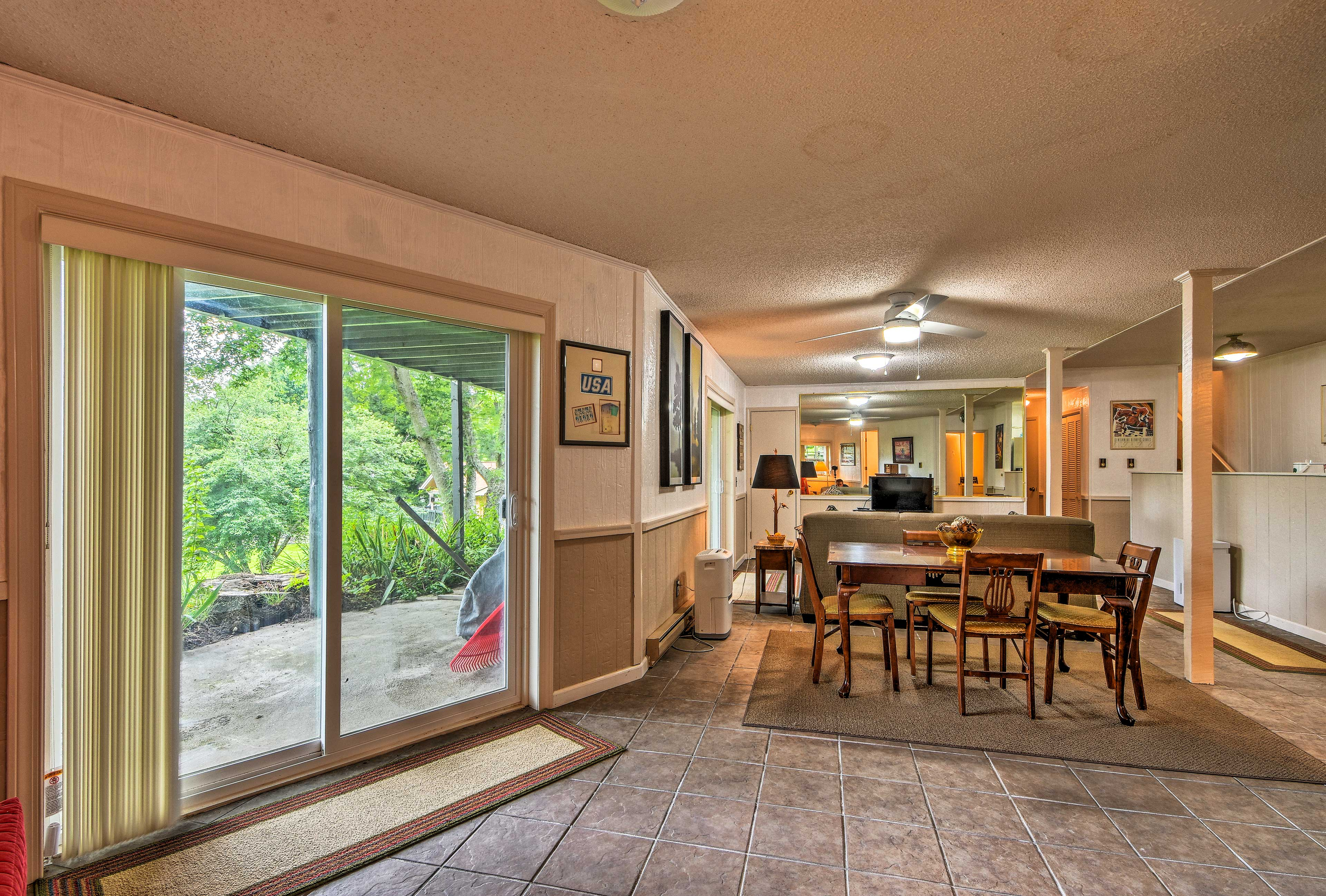 Hang out inside or open the sliding doors to step out onto the patio.
