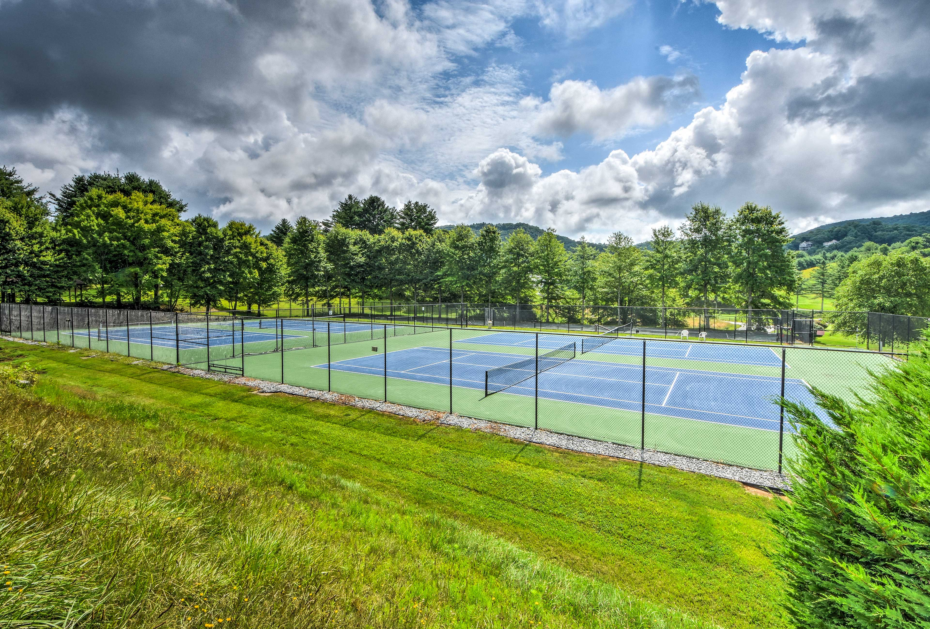 Warm up with a friendly game of tennis.