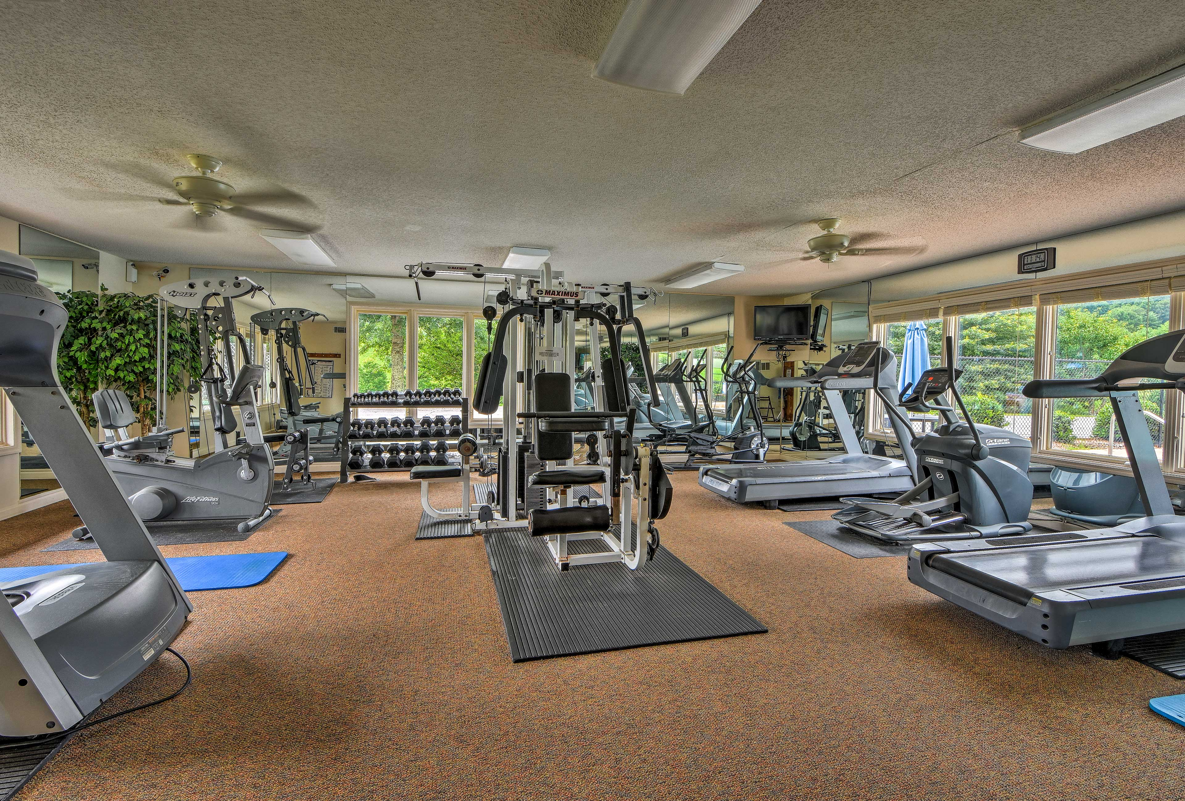 Stay on top of your workouts in the fitness center.