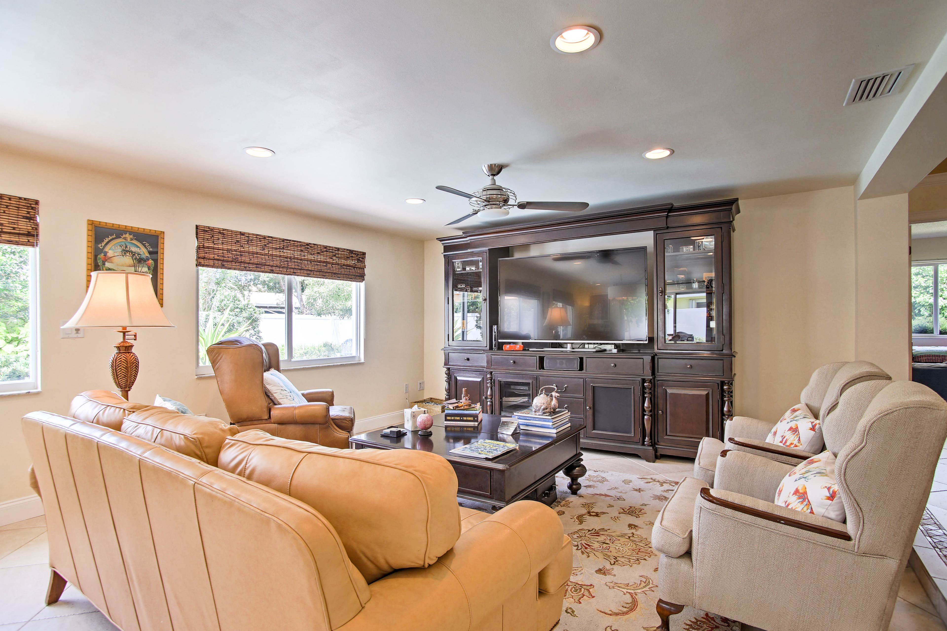 After a day on the beach, unwind in this more than cozy living room.