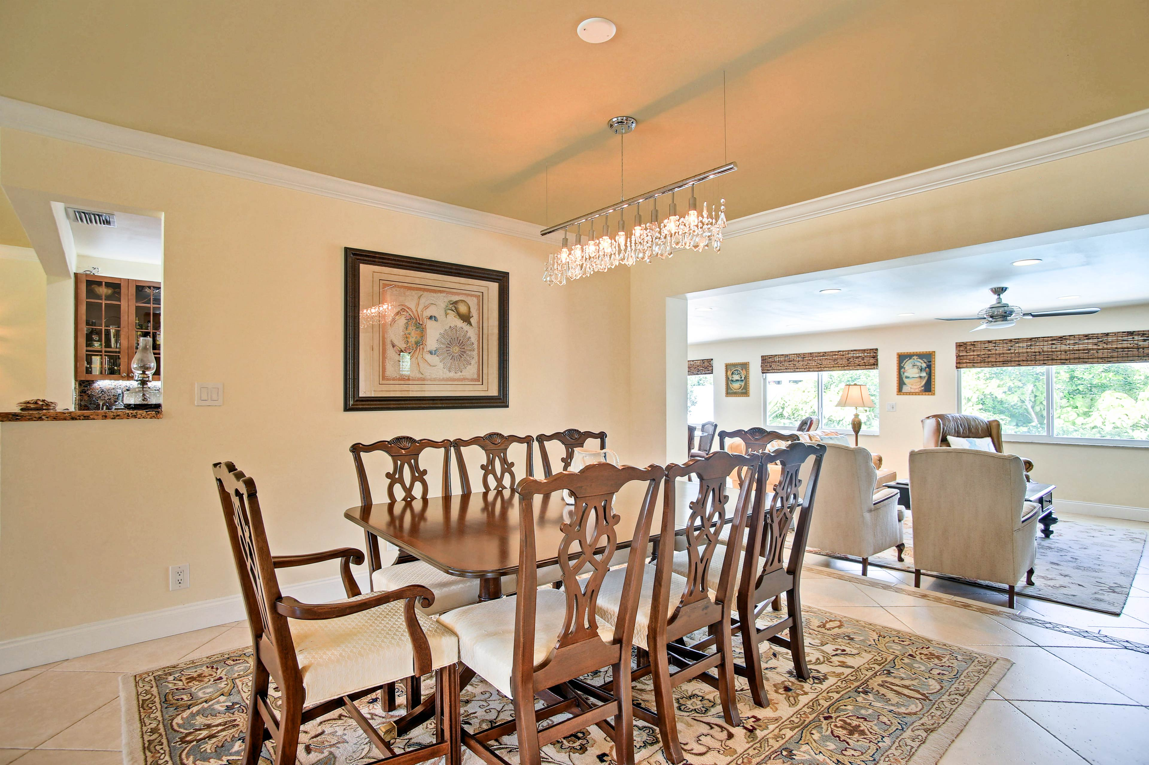 For formal family meals, gather at the stately 8-person dining table.