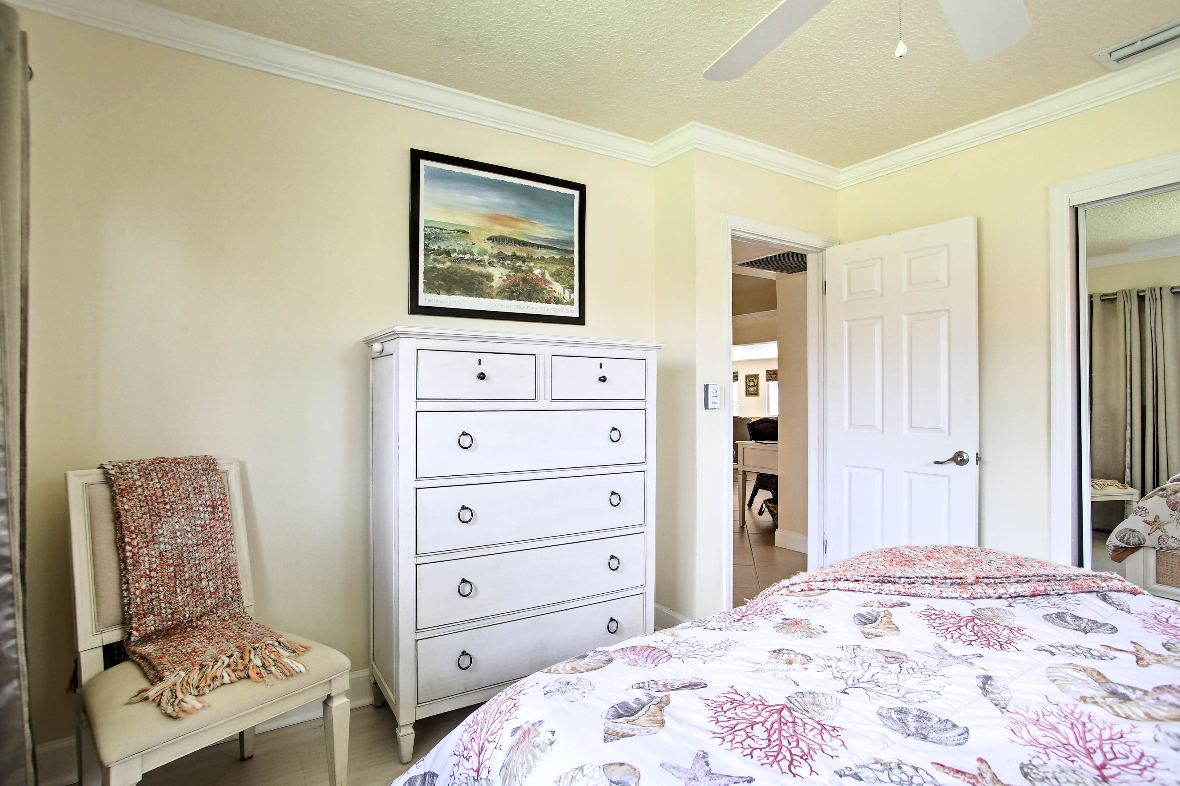 Keep your belongings organized in the dresser and closet.