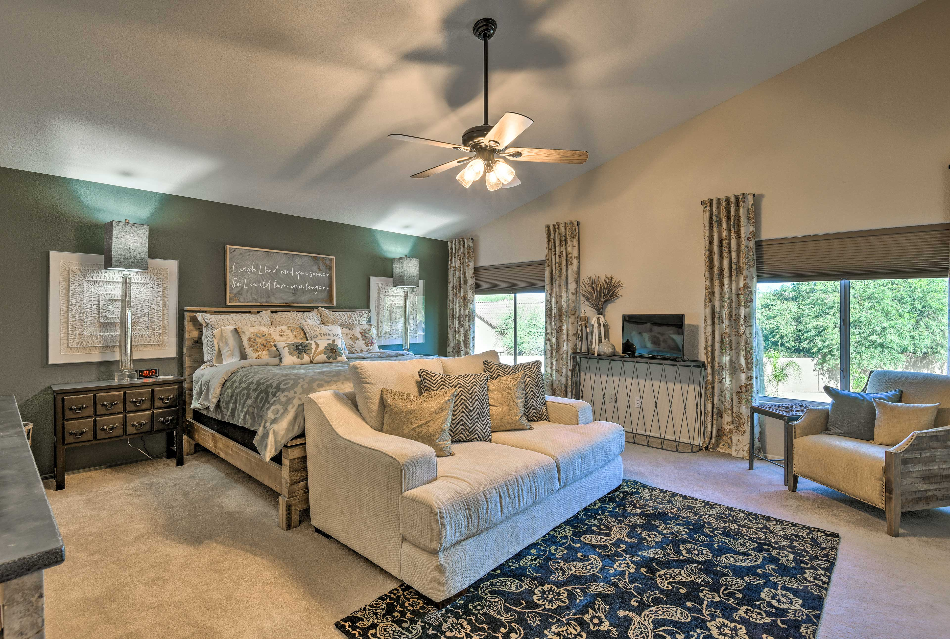 Two lucky guests can claim the king bed in the master bedroom.