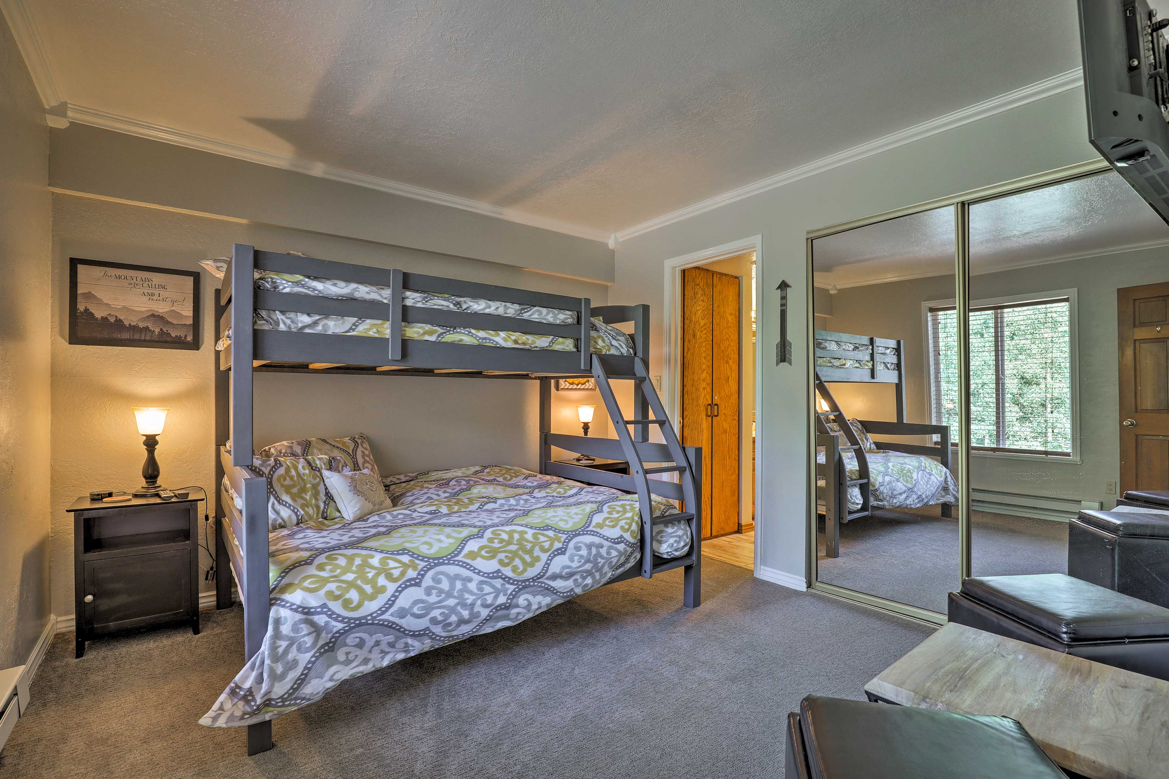 Kids will love the twin-over-full bunk bed and flat-screen TV in this room.
