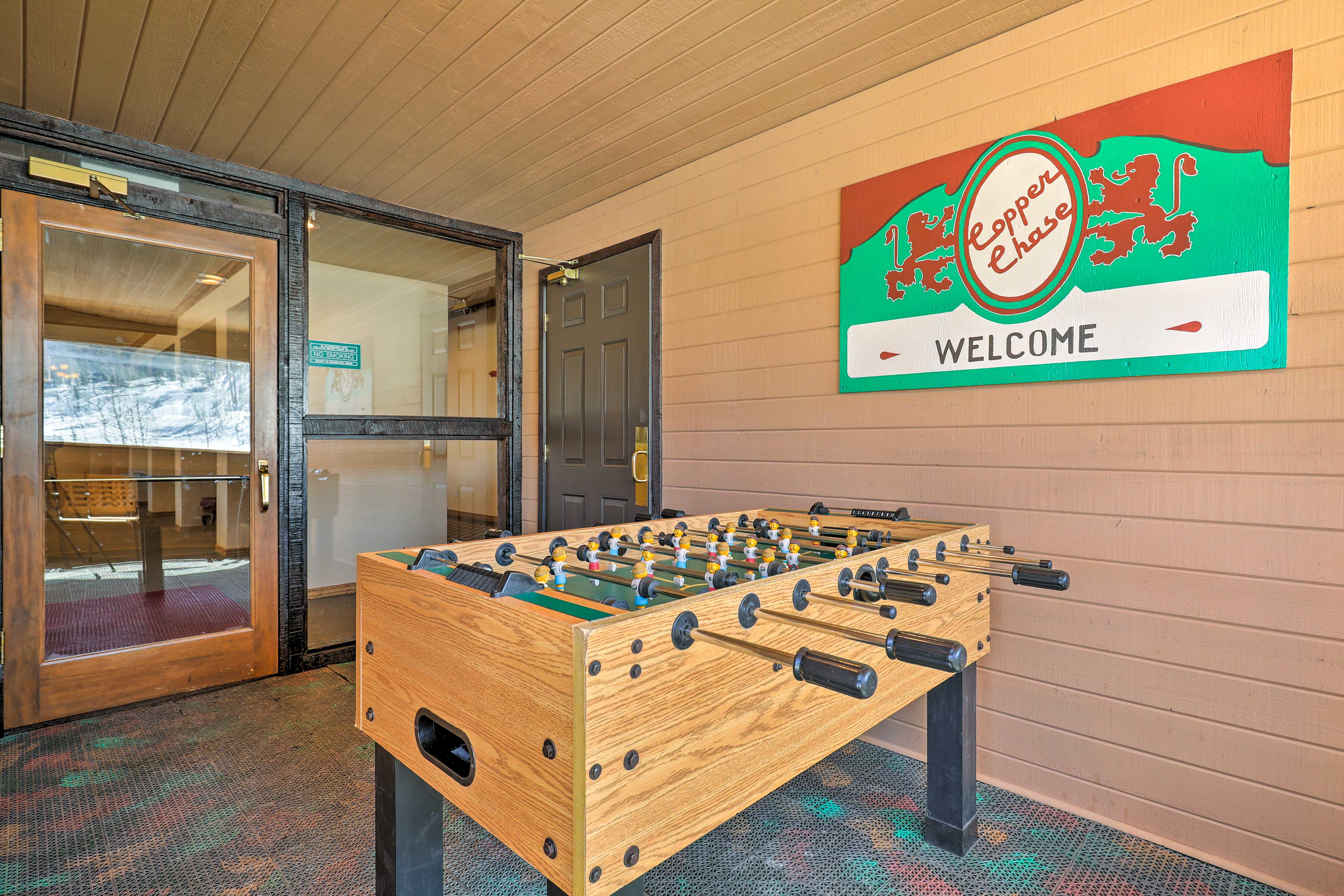 A foosball table adds entertainment during your stay.