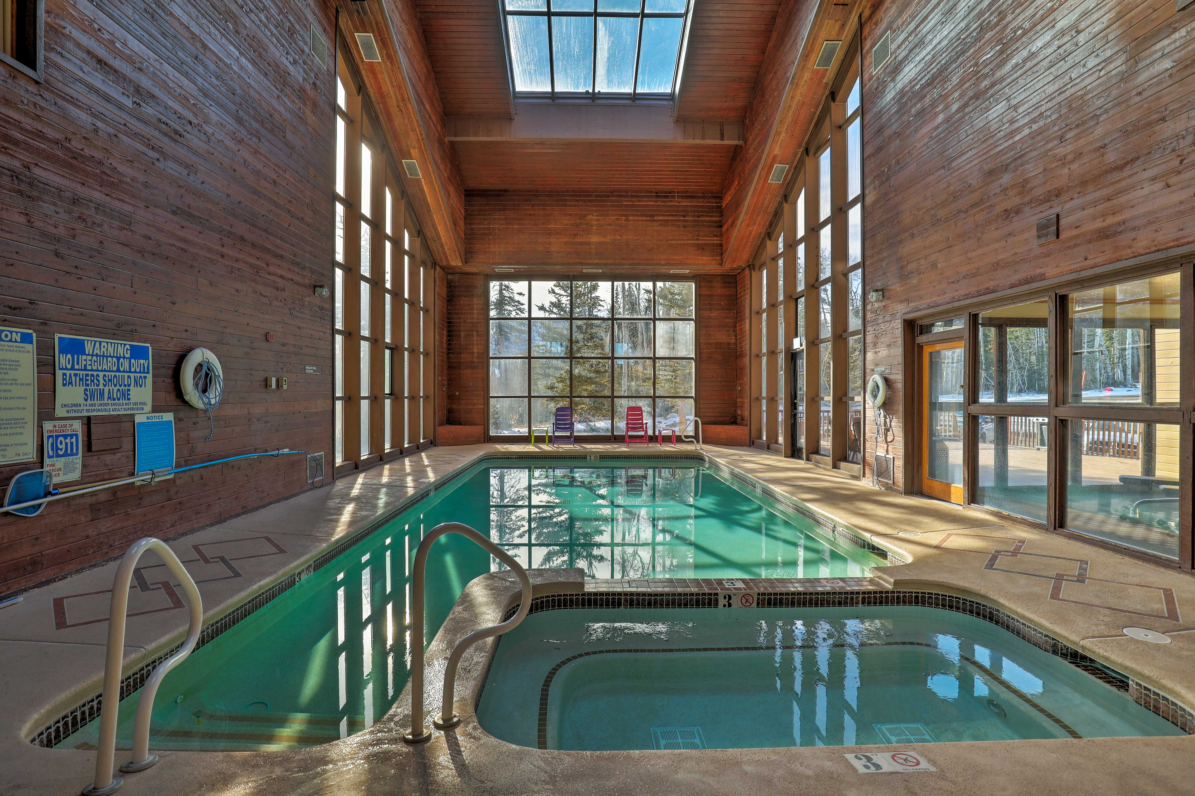 Enjoy the community pool and hot tub no matter the weather.