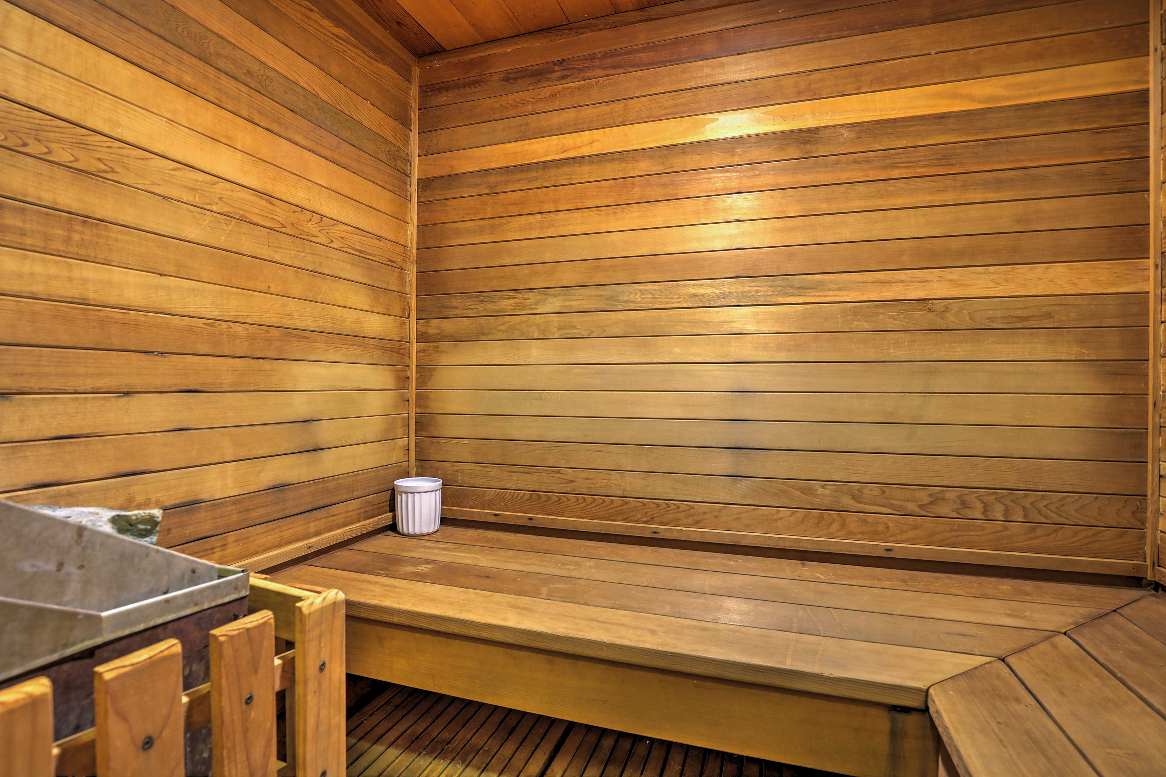 Ease your muscles in the sauna.