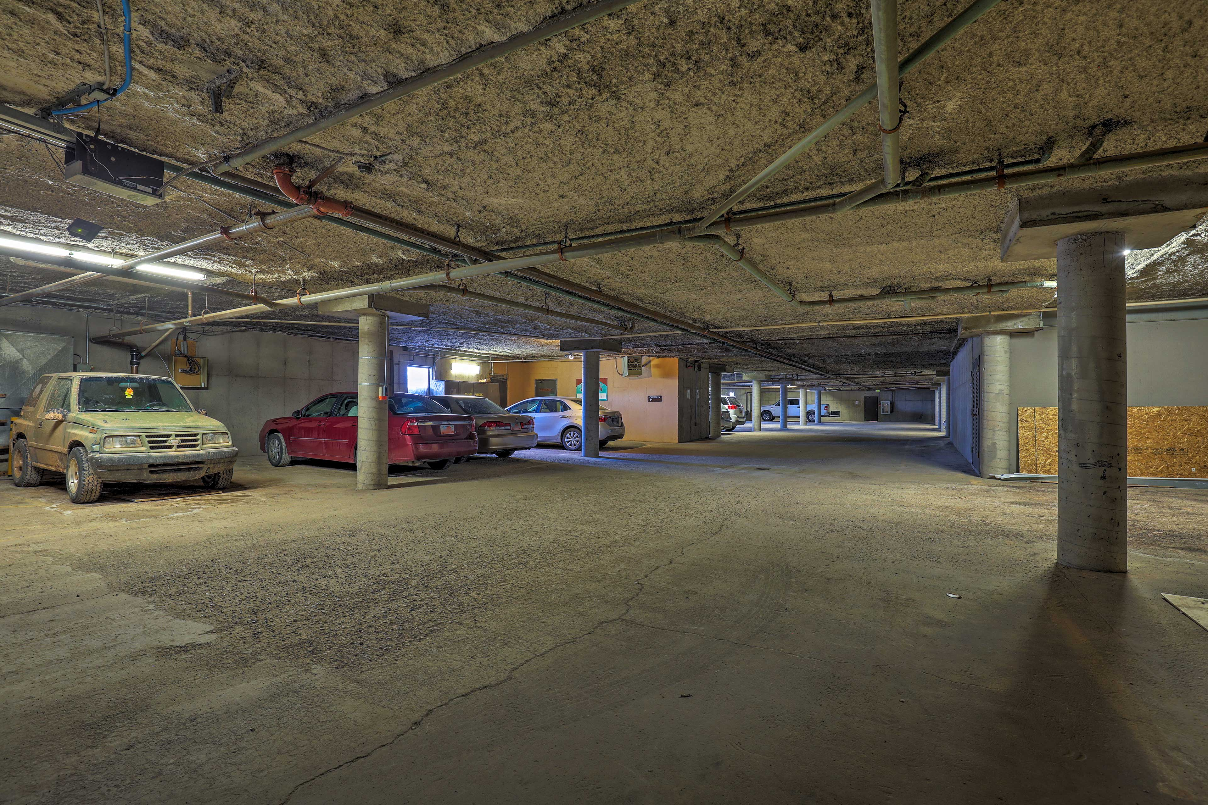 Heated garage parking protects your car from the elements.
