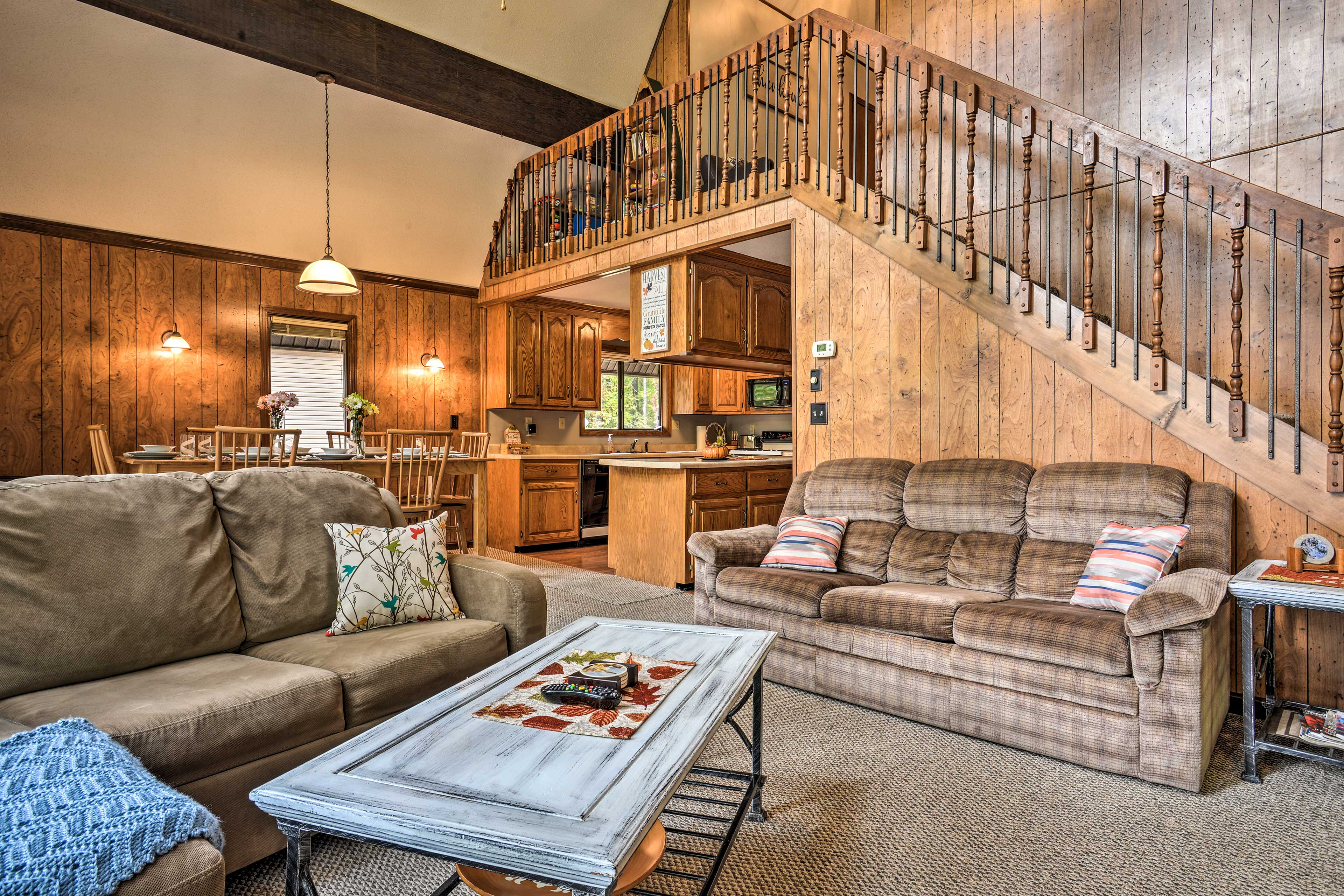 You're sure to love the rustic, cabin-like interior!