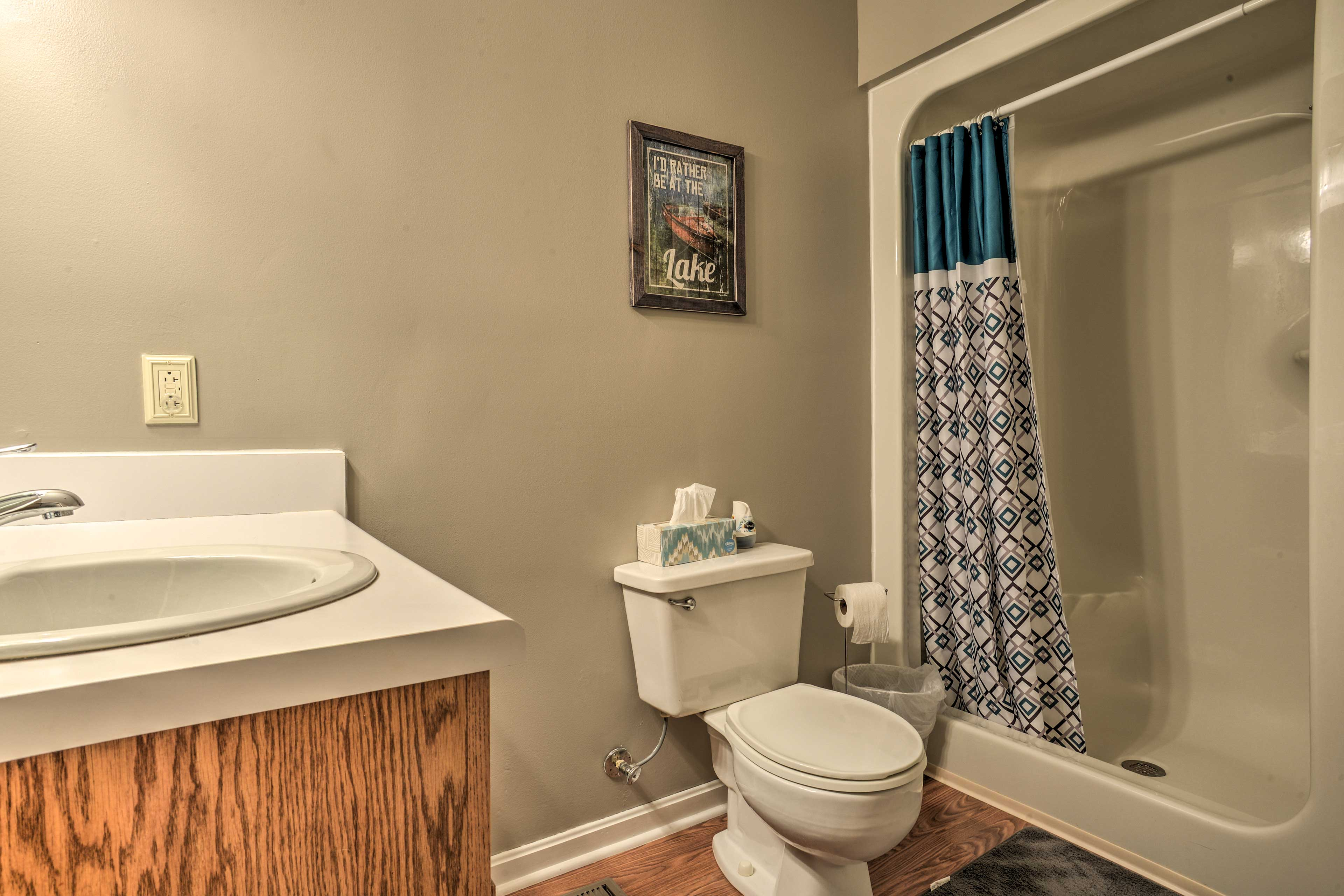 Take a relaxing rinse in the walk-in shower after a day on the lake!