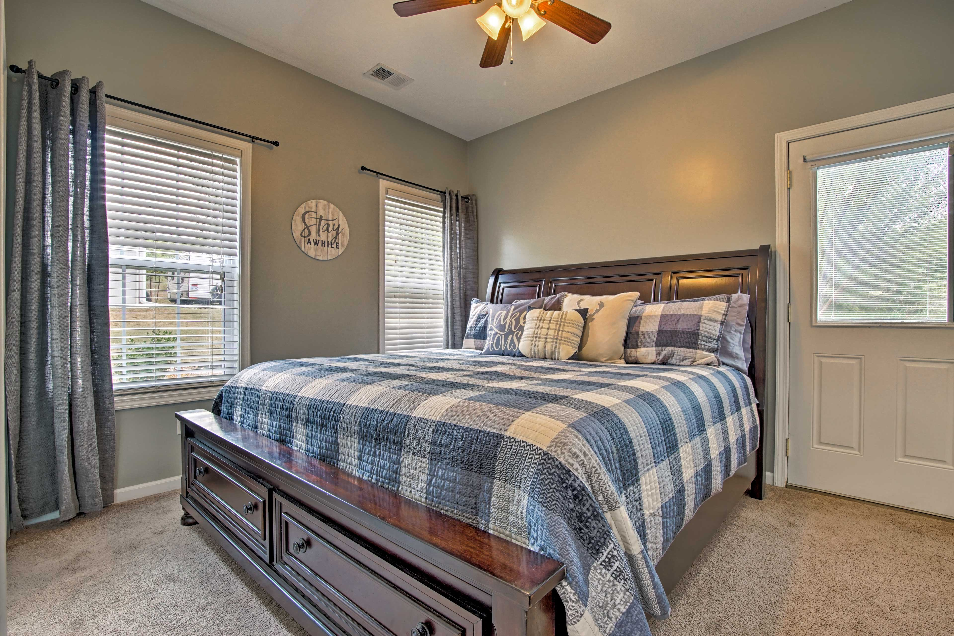Wood furnishings fill this bedroom.