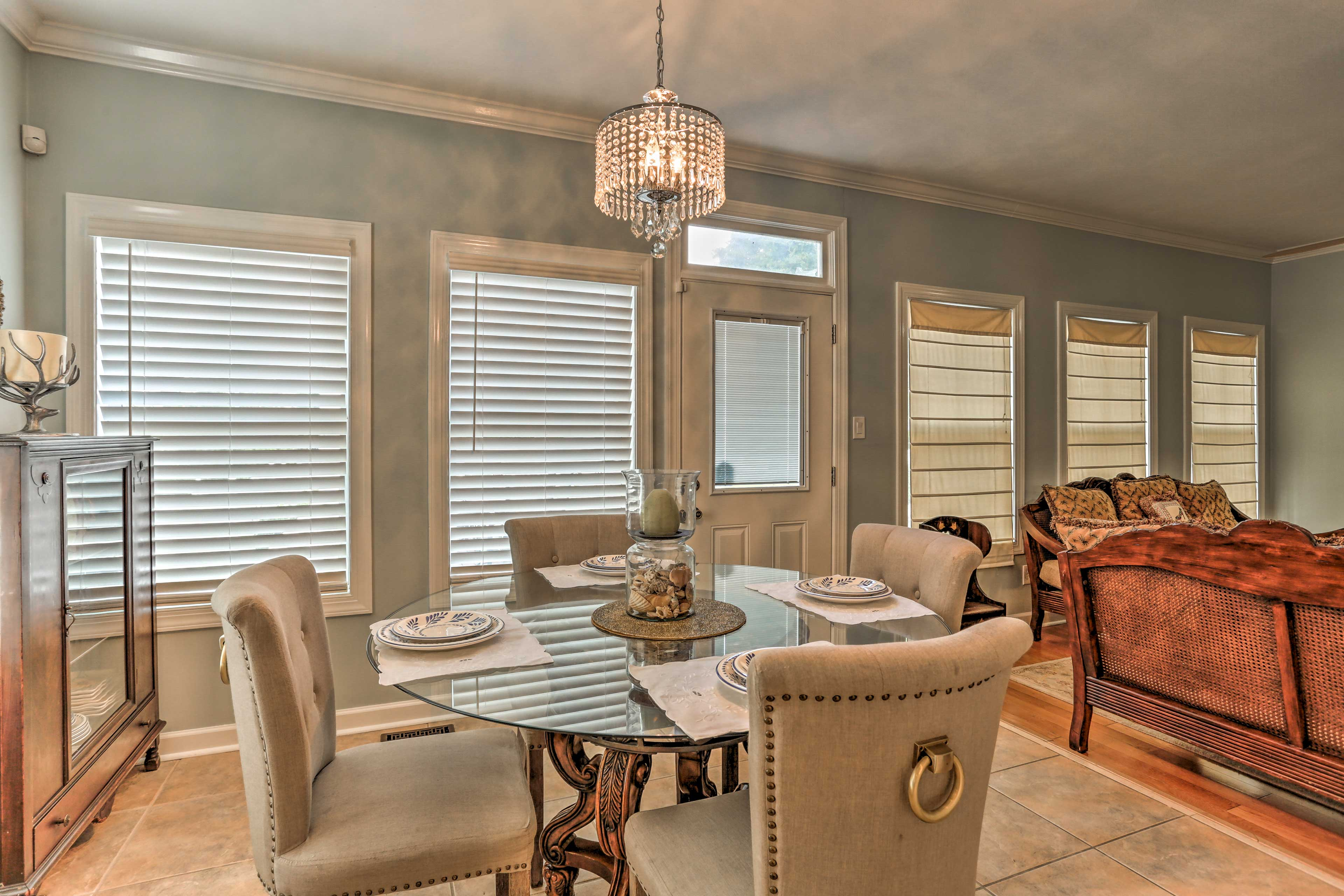 This breakfast table is the perfect place to savor morning coffee and toast.