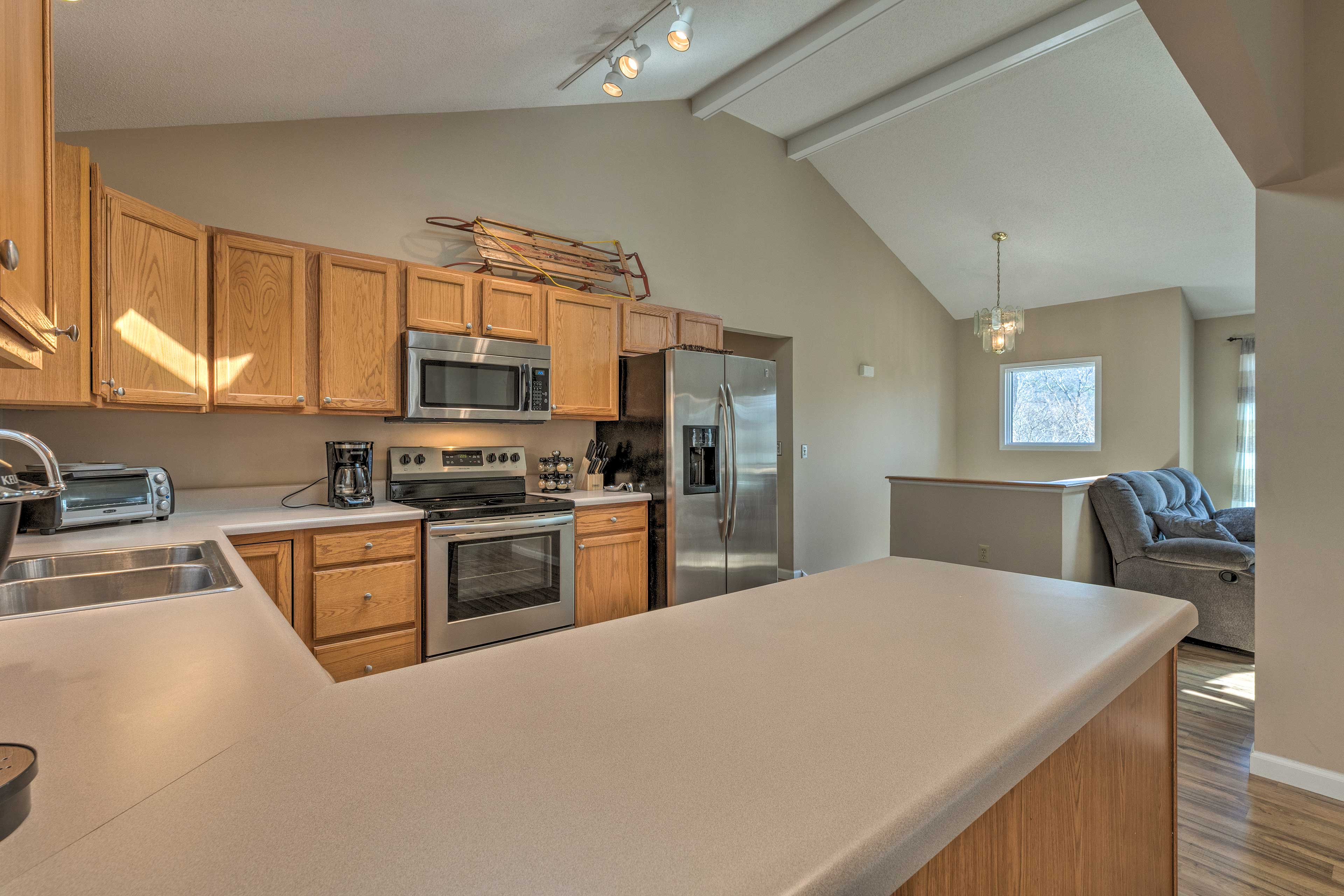 Stainless steel appliances elevate the look of the kitchen.