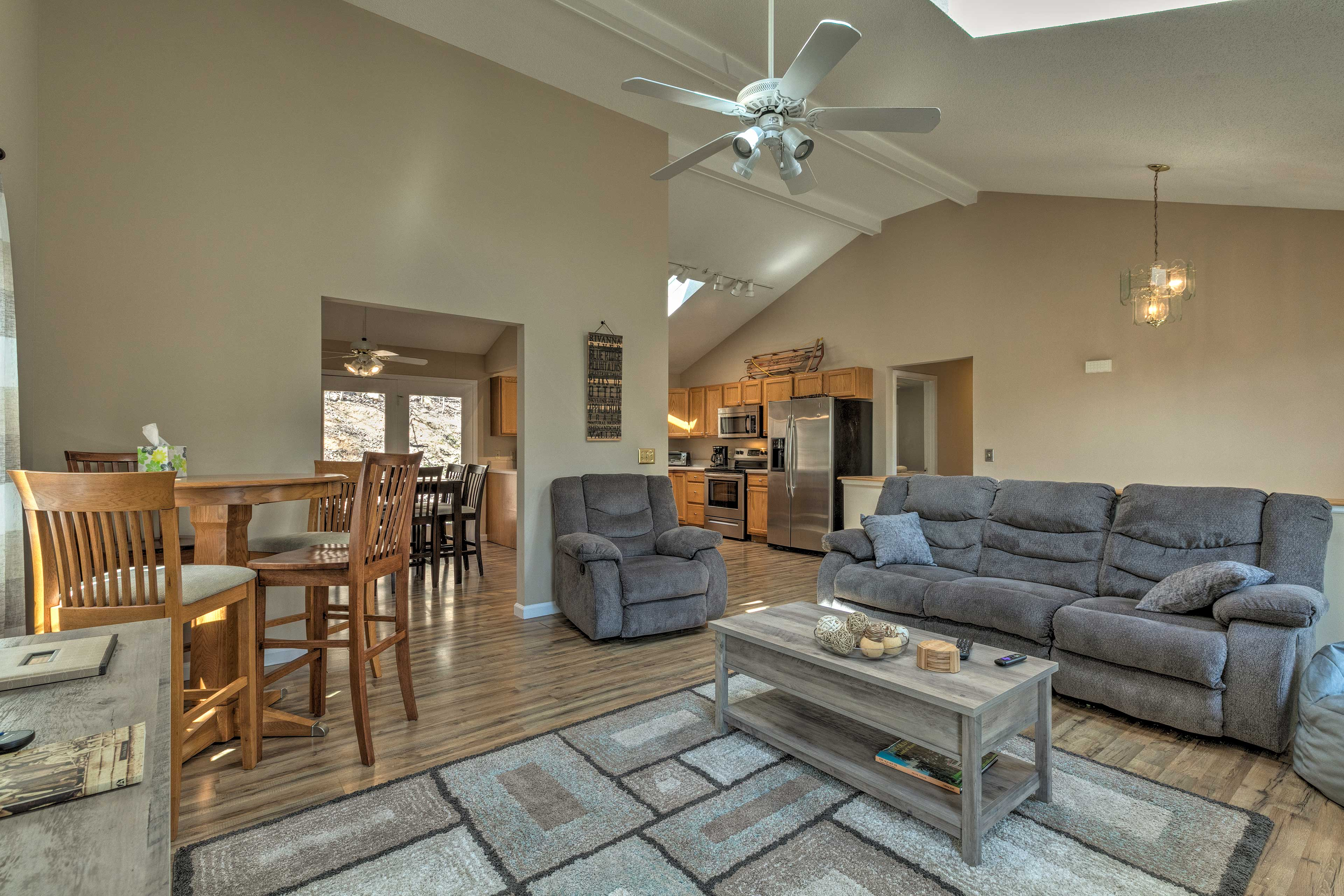 The living room has seating for your whole crew!