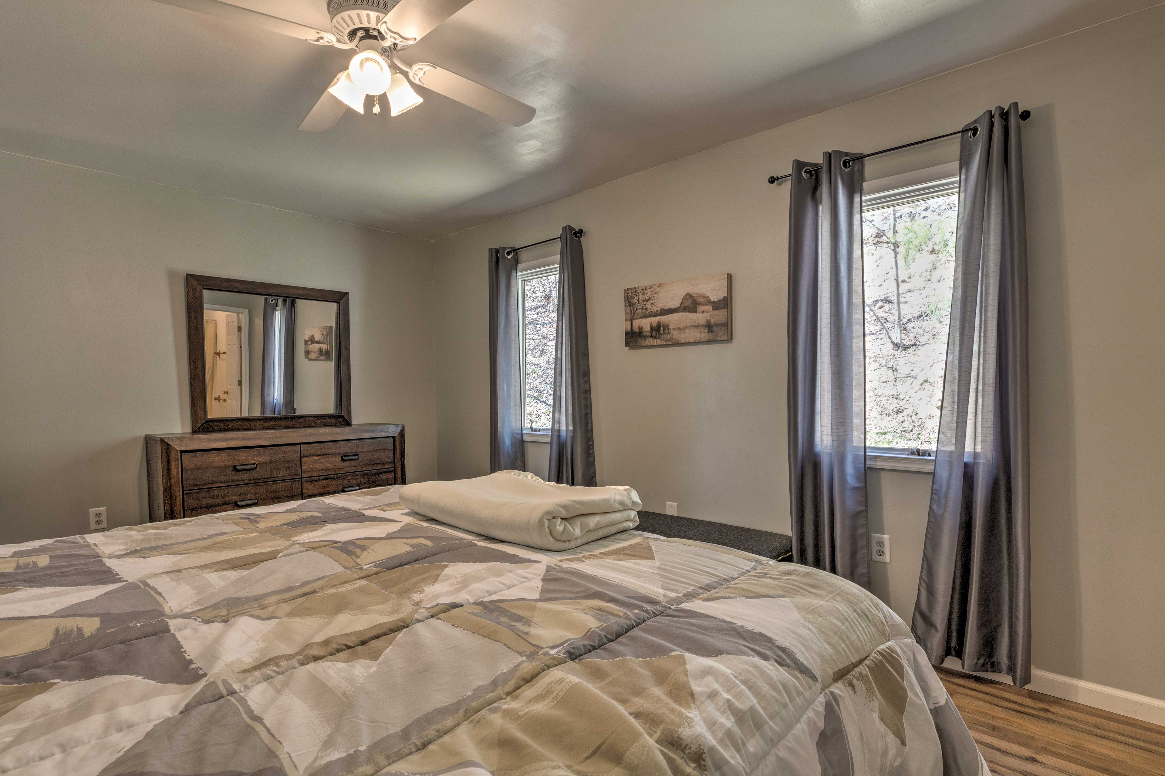 Two lucky travelers can claim this spacious king bedroom.