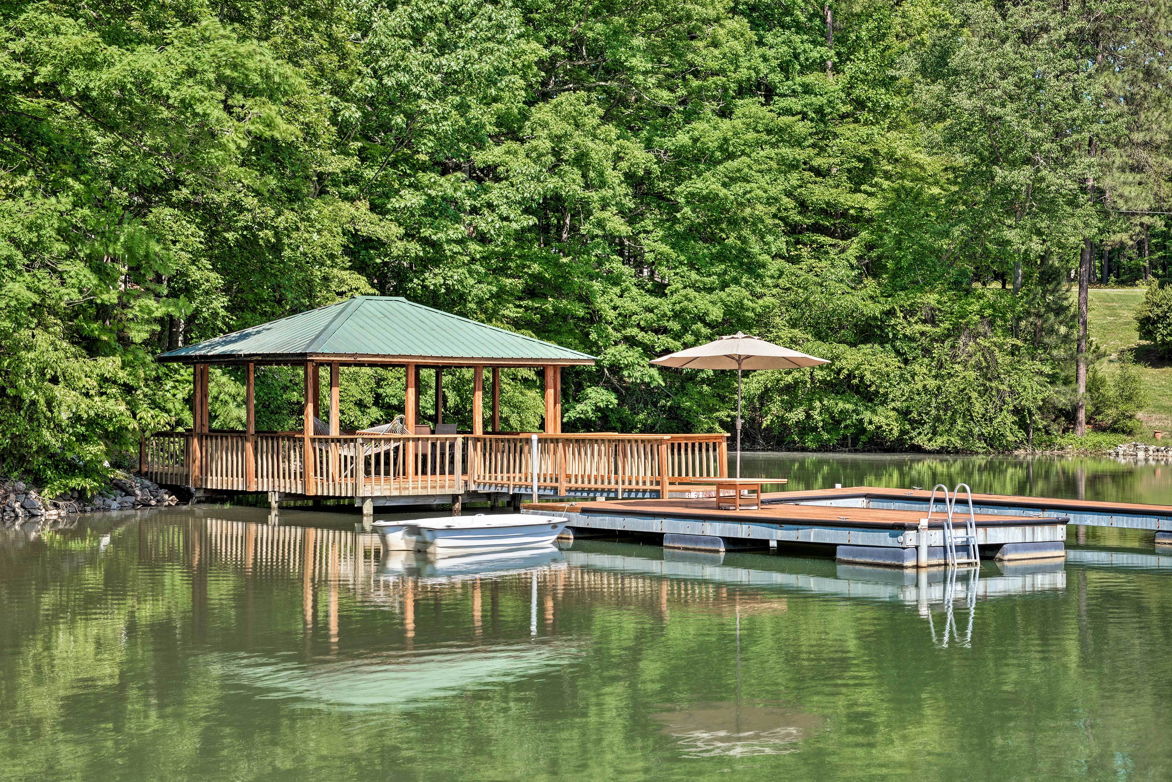 This fantastic home-away-from-home has a boat slip and dock available.