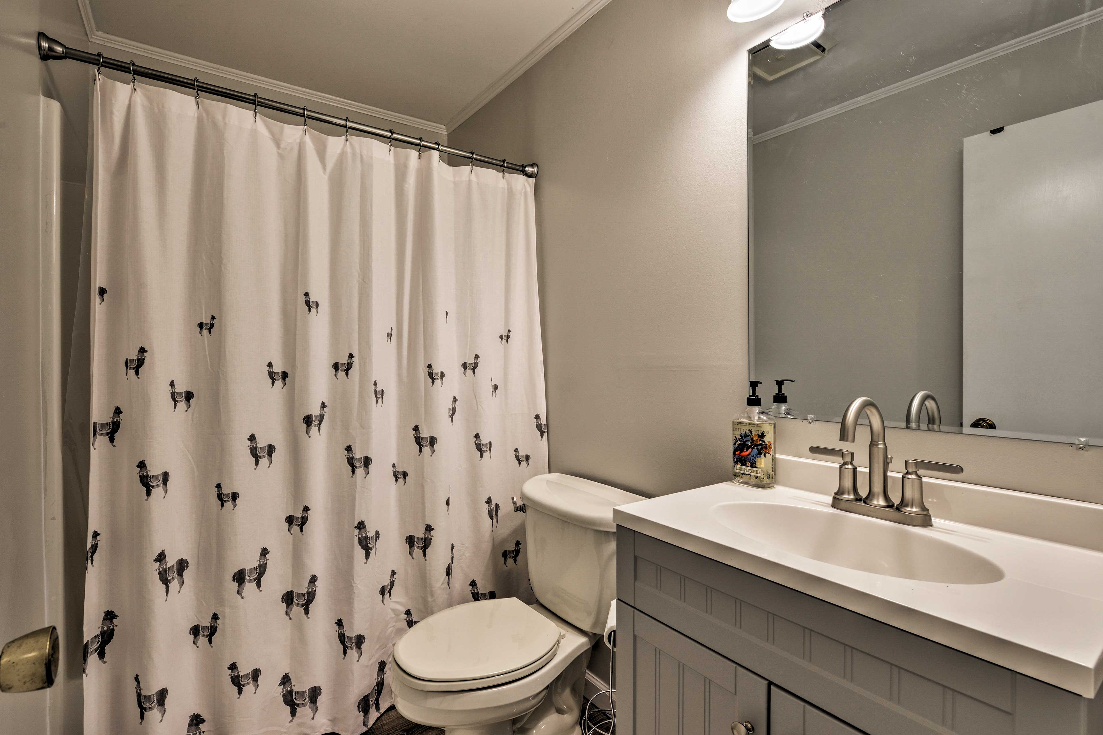Rinse away the day in the full bathroom.