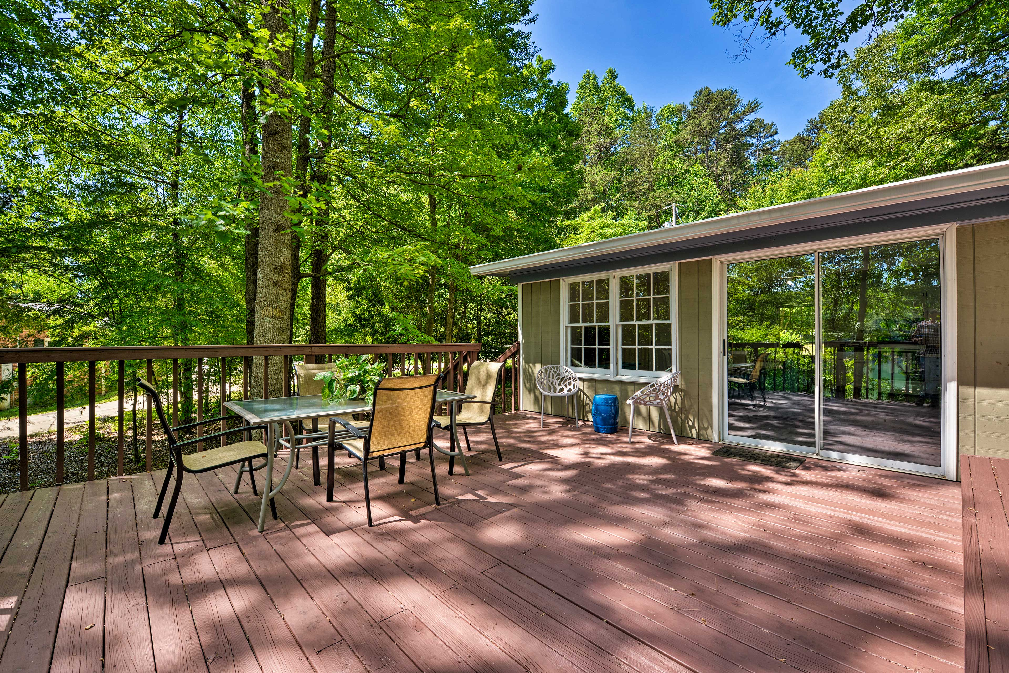 Step outside to enjoy the spacious outdoor deck.