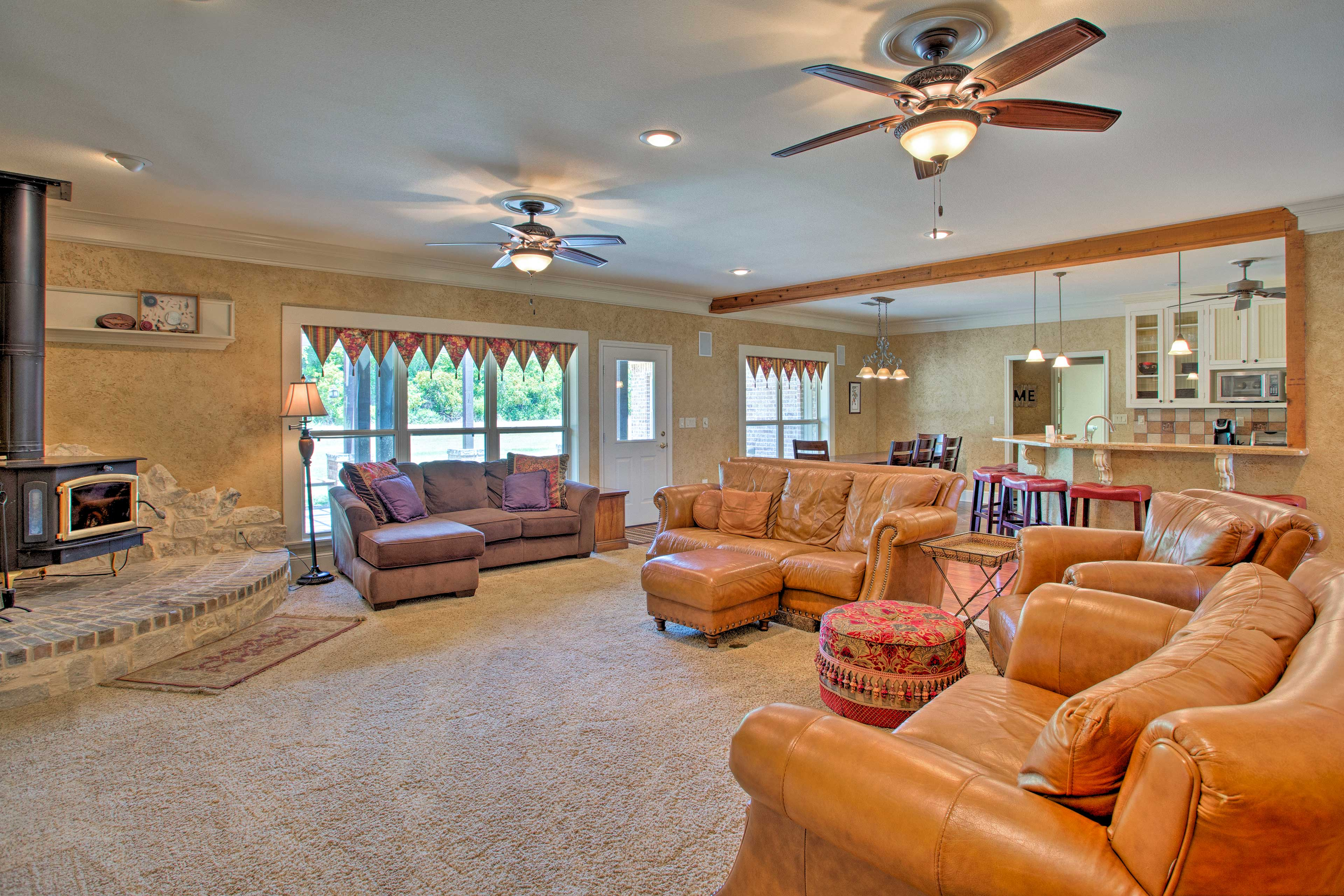 This 5-bed, 2.5-bath vacation rental house is nestled on 4 acres.