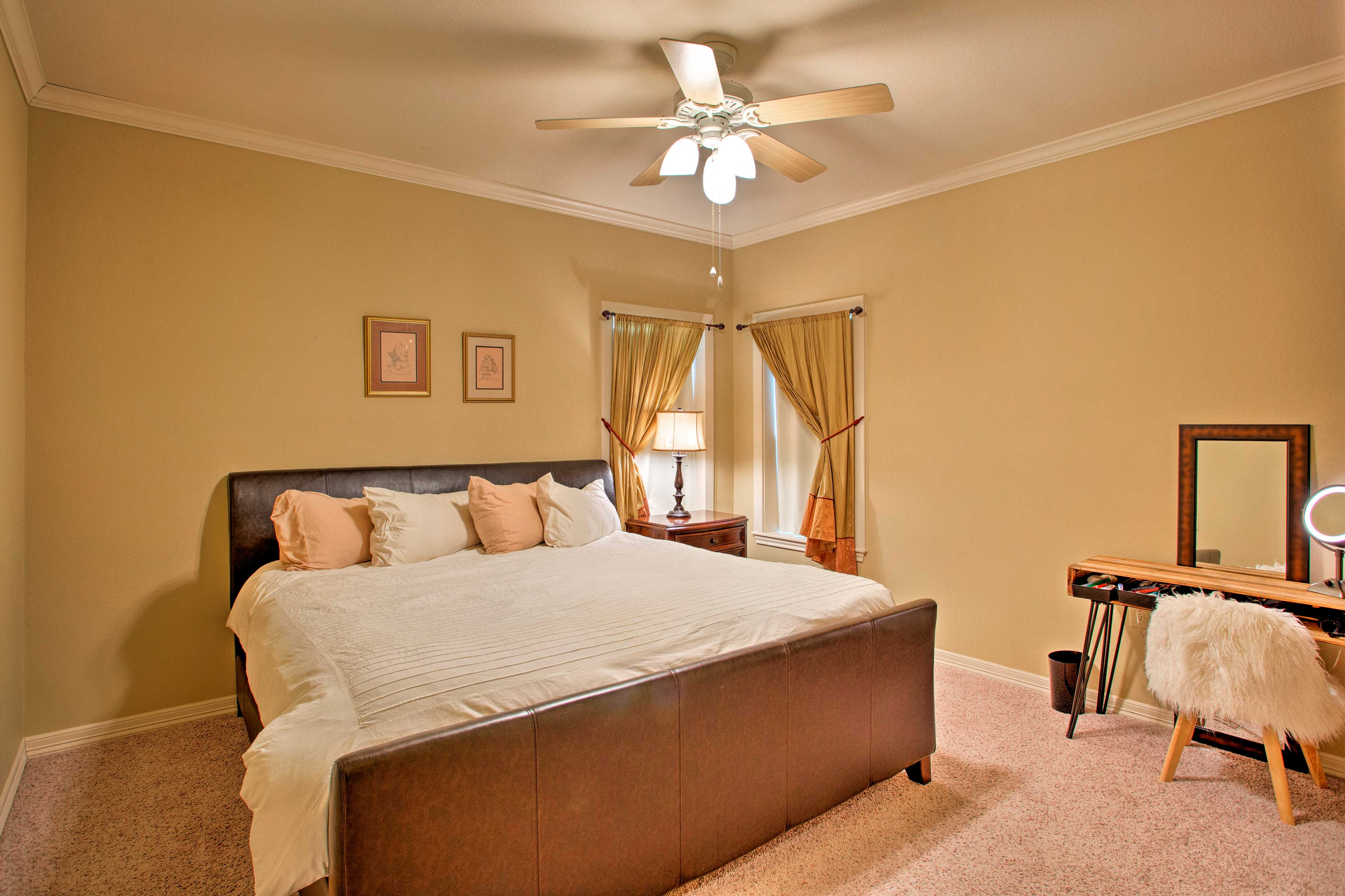 You'll find a separate desk space in this king bedroom.