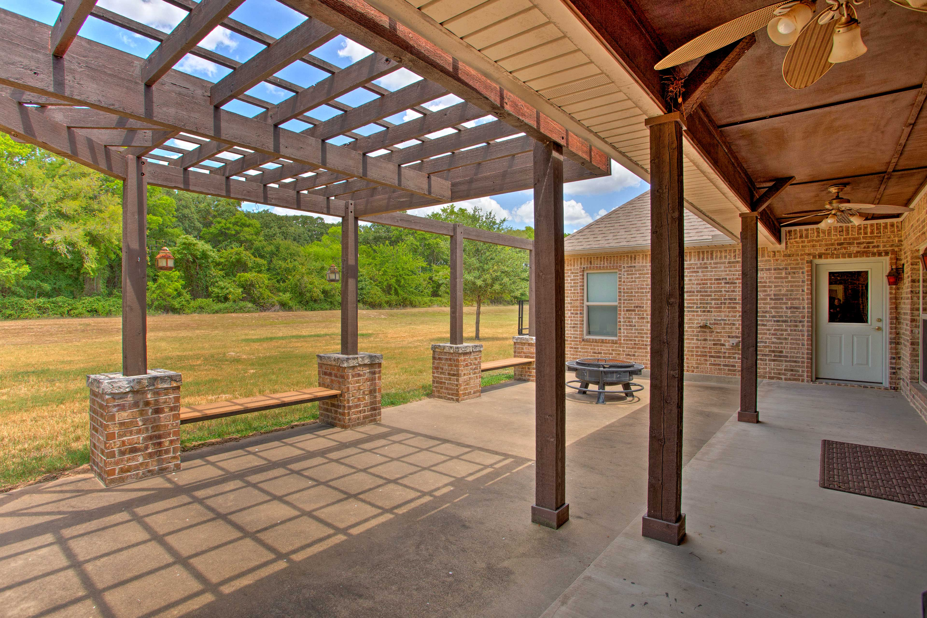 The patio is perfect for hosting backyard barbecues.