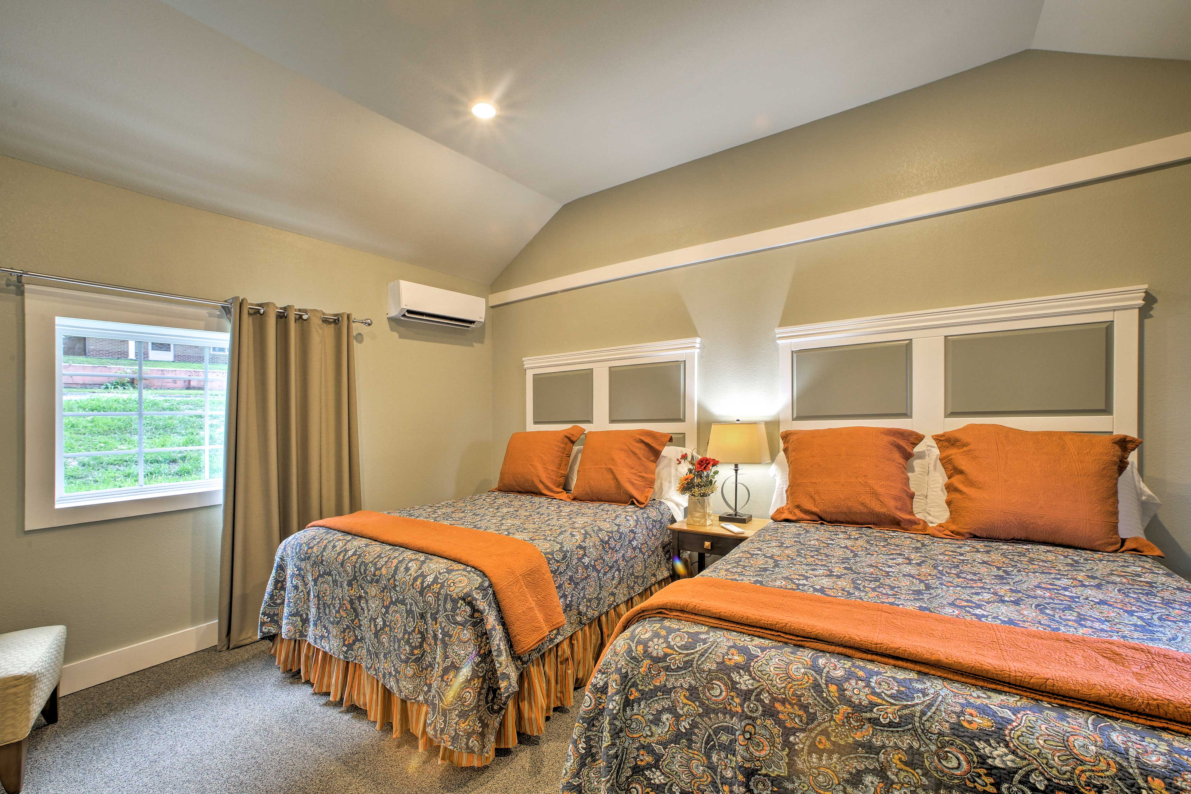 Climb under the covers of the 2 queen beds!