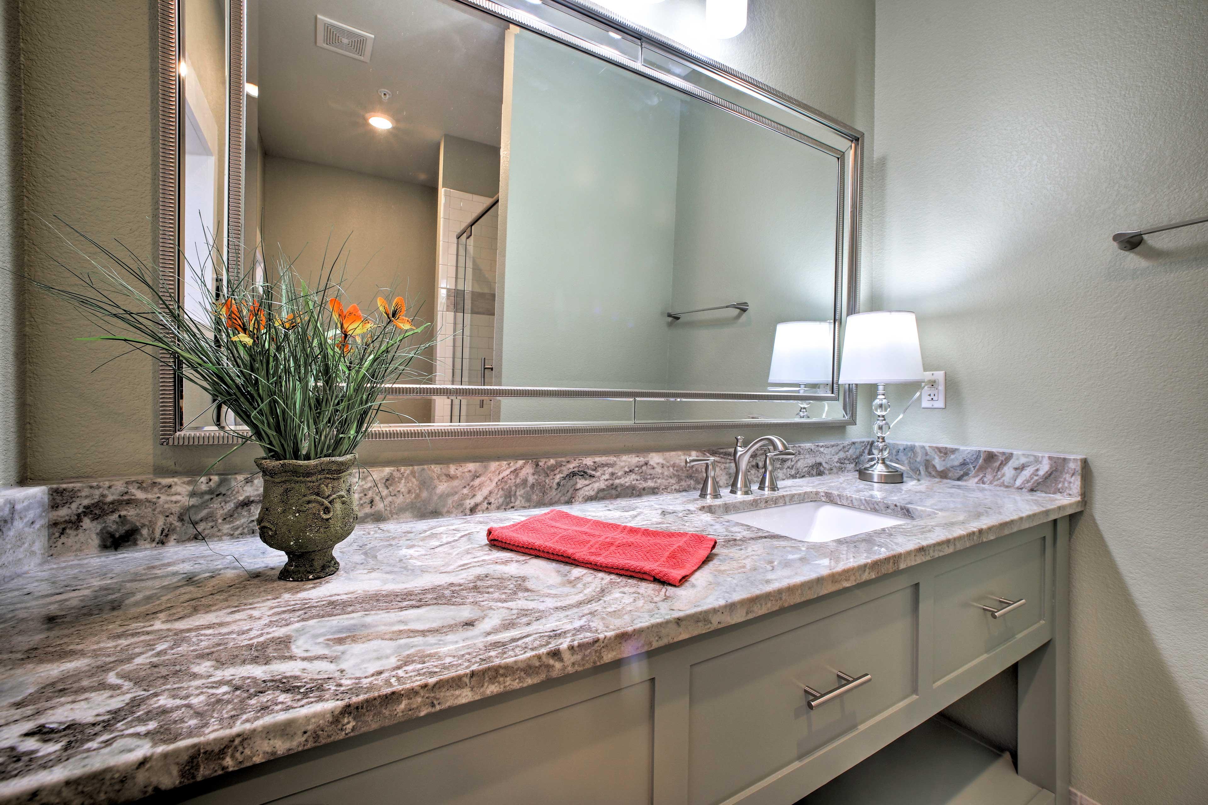 Freshen up in the bathroom!