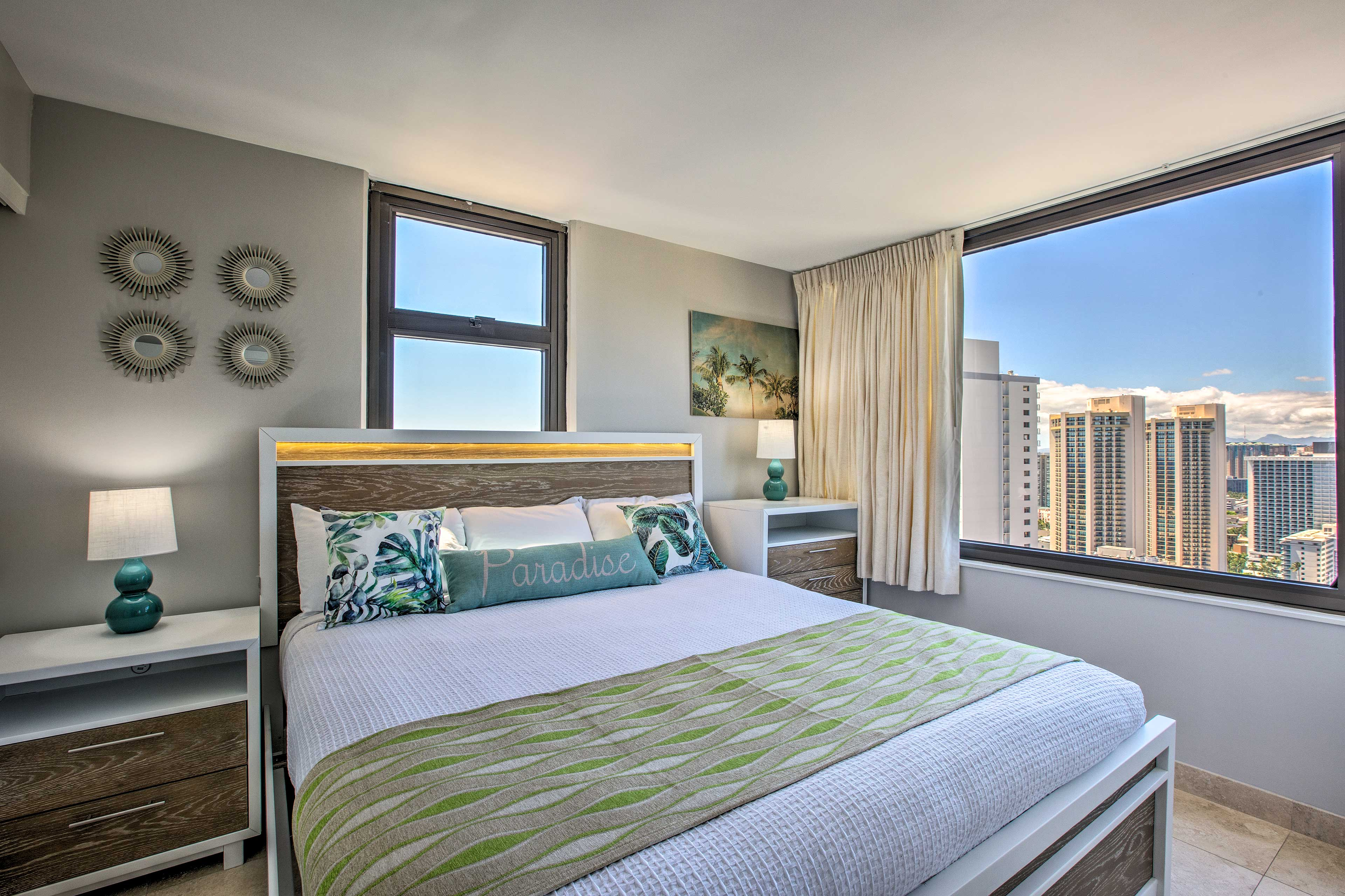 In the bedroom, you'll find a plush king-sized bed.