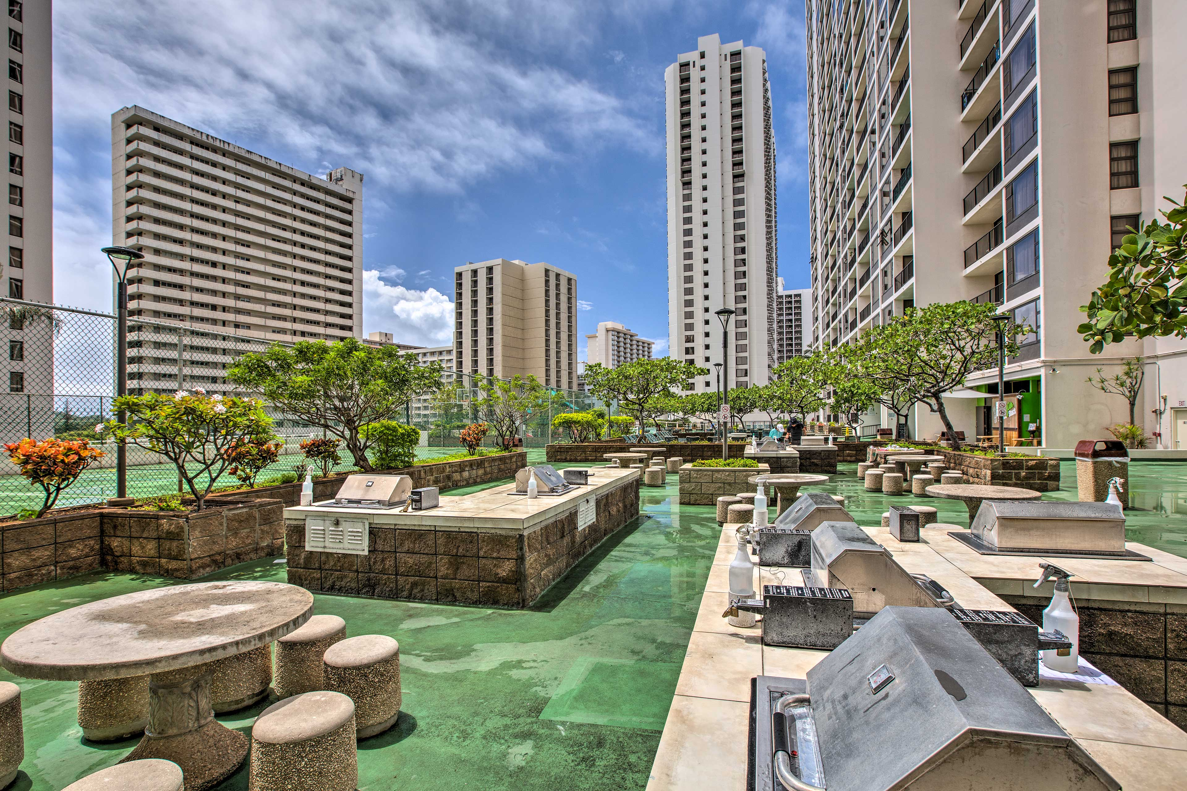 Utilize the picnic tables and grill area for an afternoon luau.