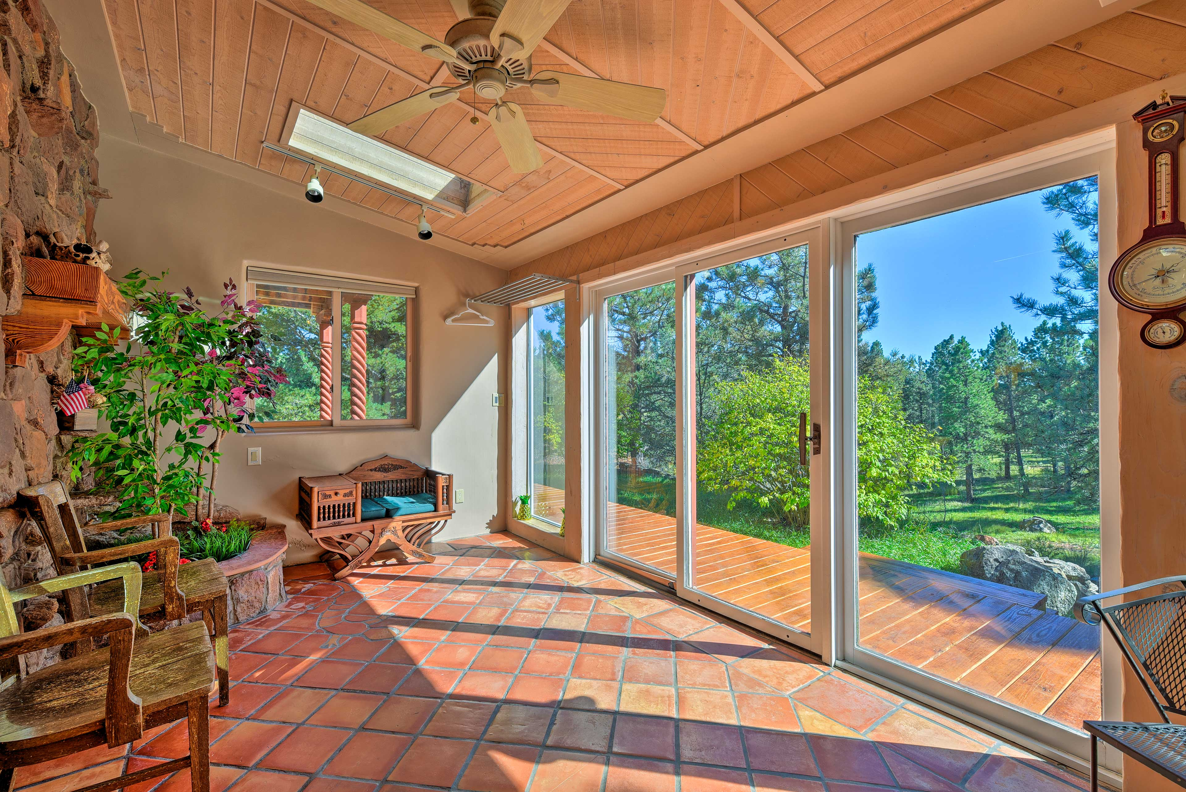 Boasting 5 private acres, 4 bedrooms and 3 baths, this home offers a great stay!